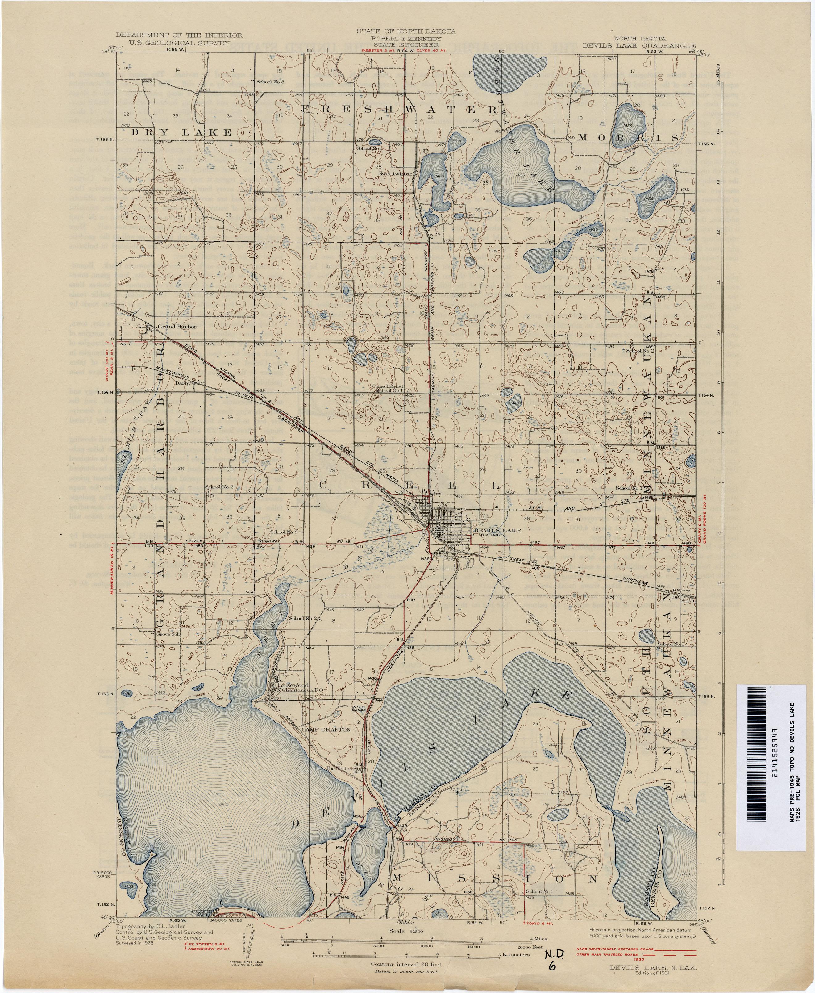 North Dakota Historical Topographic Maps - Perry-Castañeda Map ...