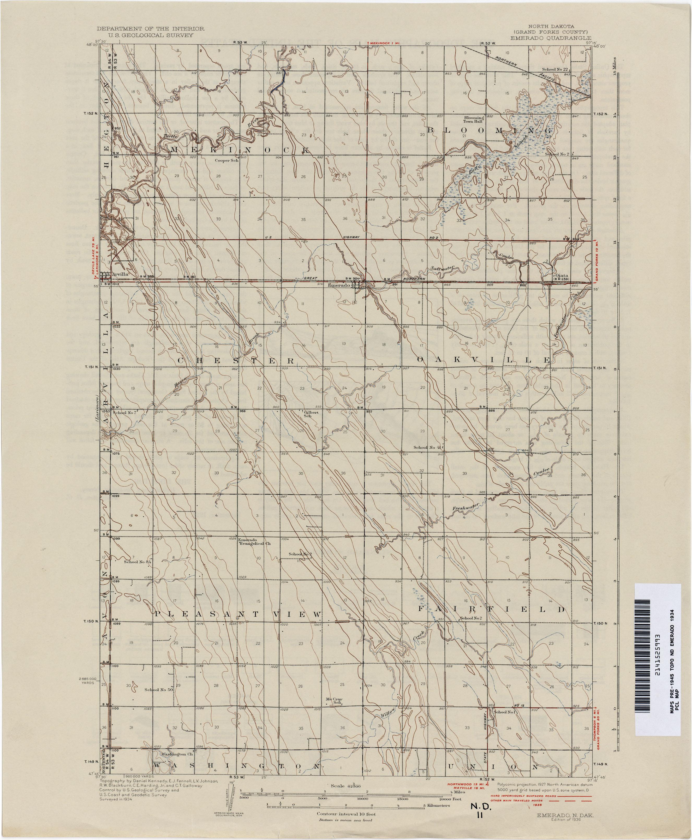 North Dakota Historical Topographic Maps PerryCastaeda Map