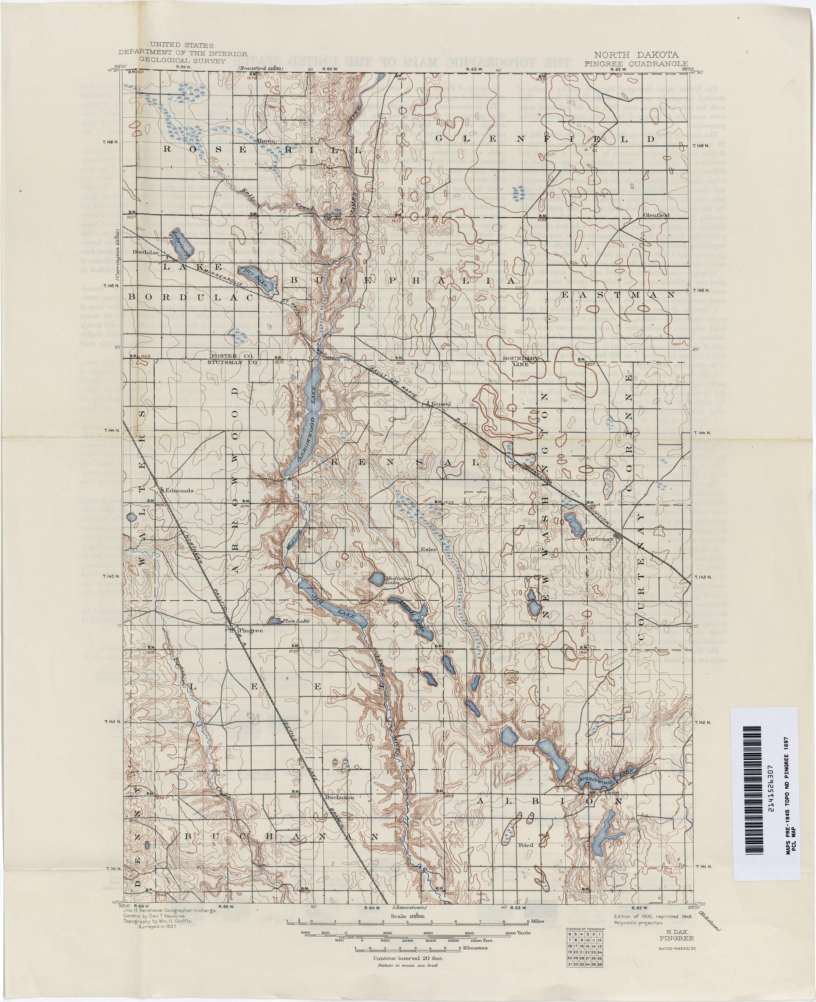 North Dakota Historical Topographic Maps PerryCastañeda Map - Us map north dakota