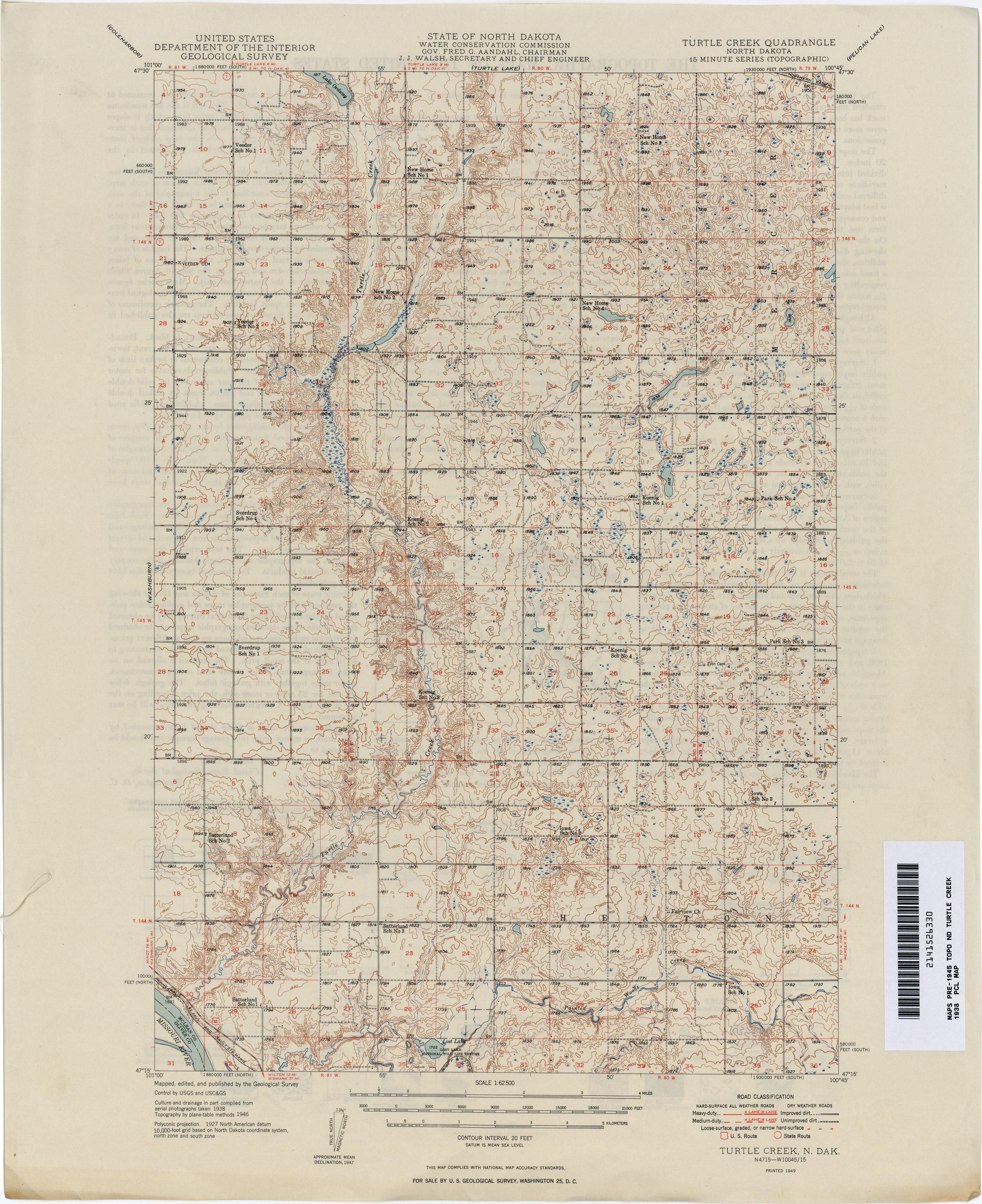 North Dakota Historical Topographic Maps PerryCastañeda Map - North dakota road map