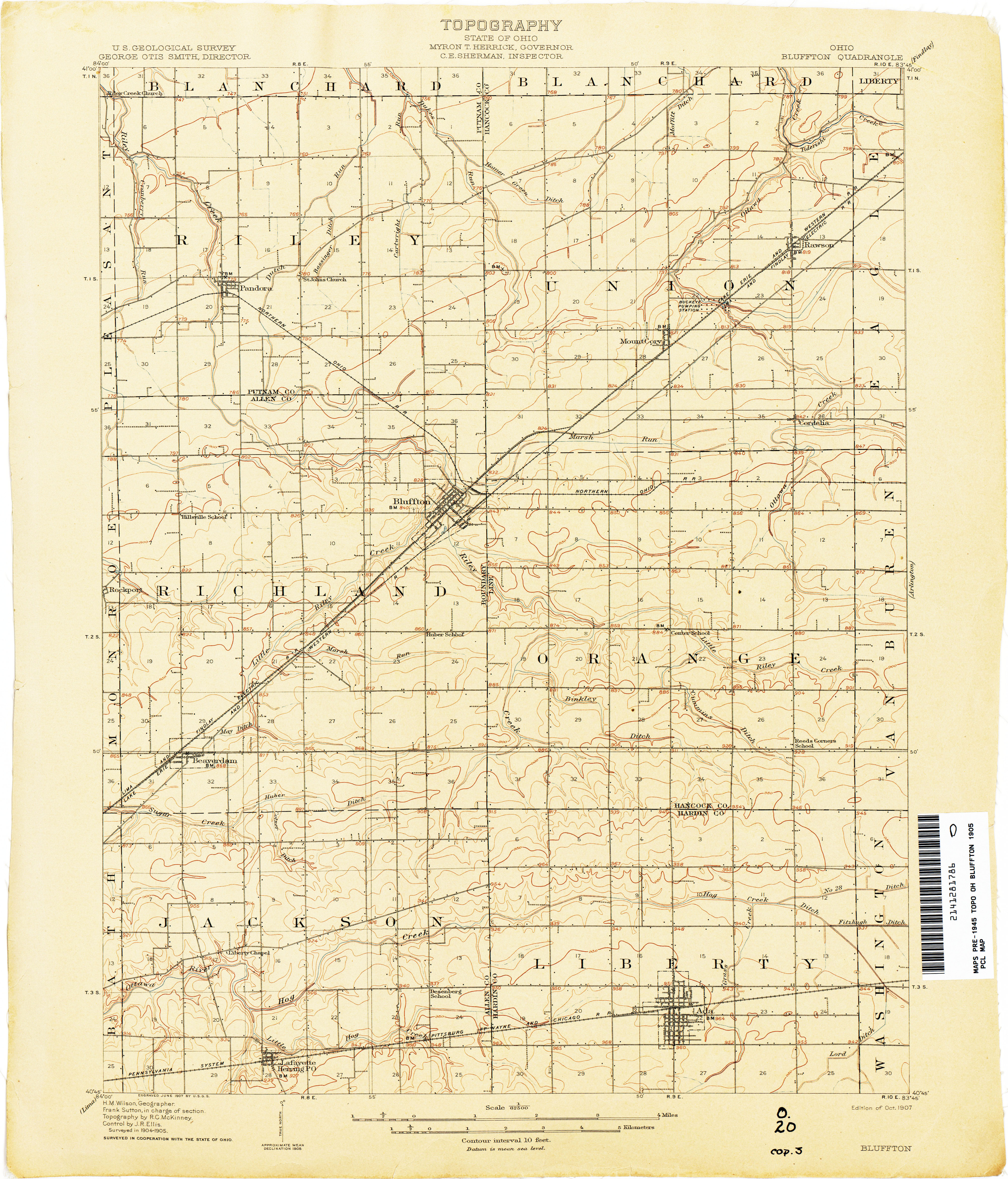Ohio Historical Topographic Maps PerryCastañeda Map Collection - Us map 1905