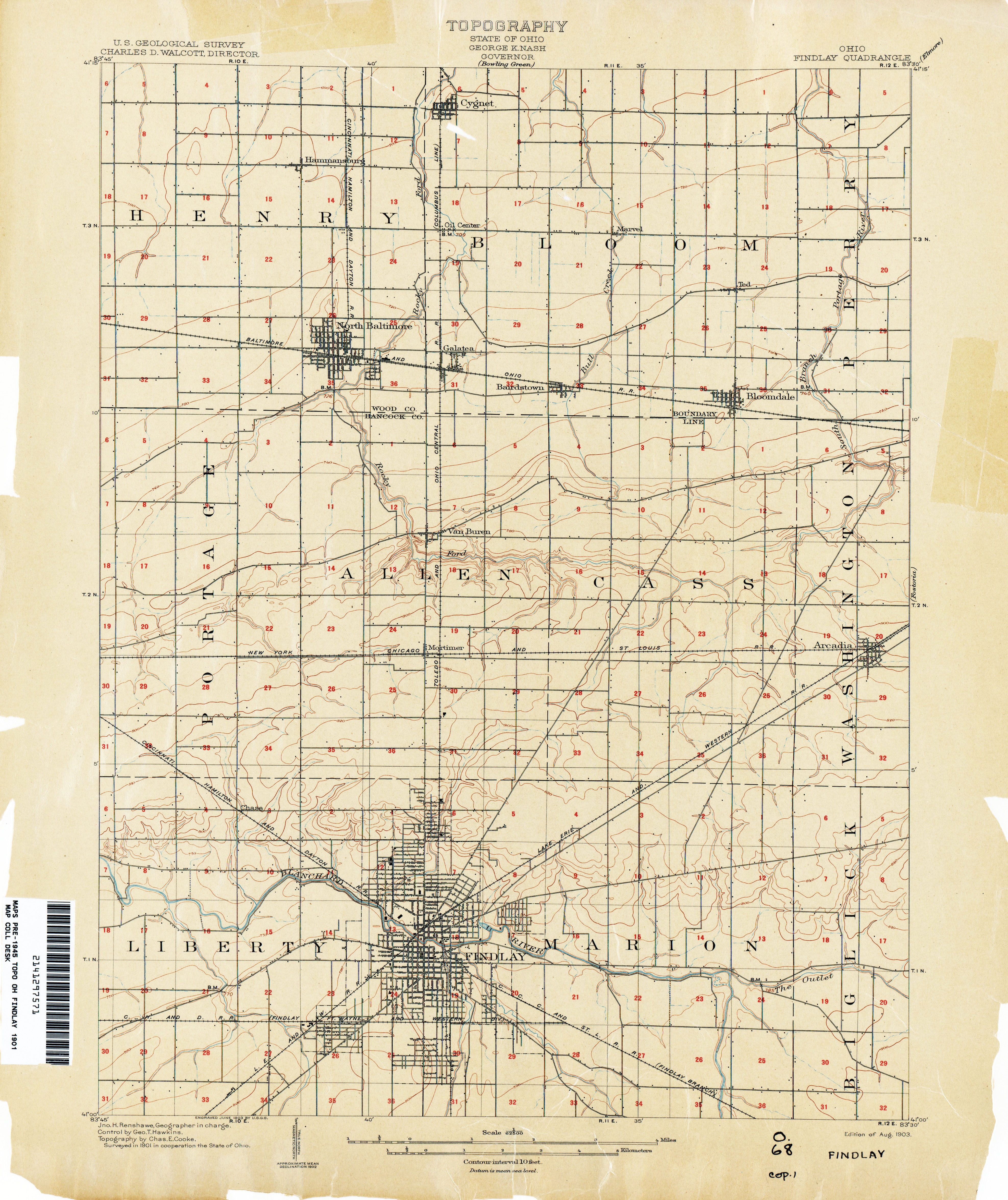 find information topographical map of findlay ohio 1901