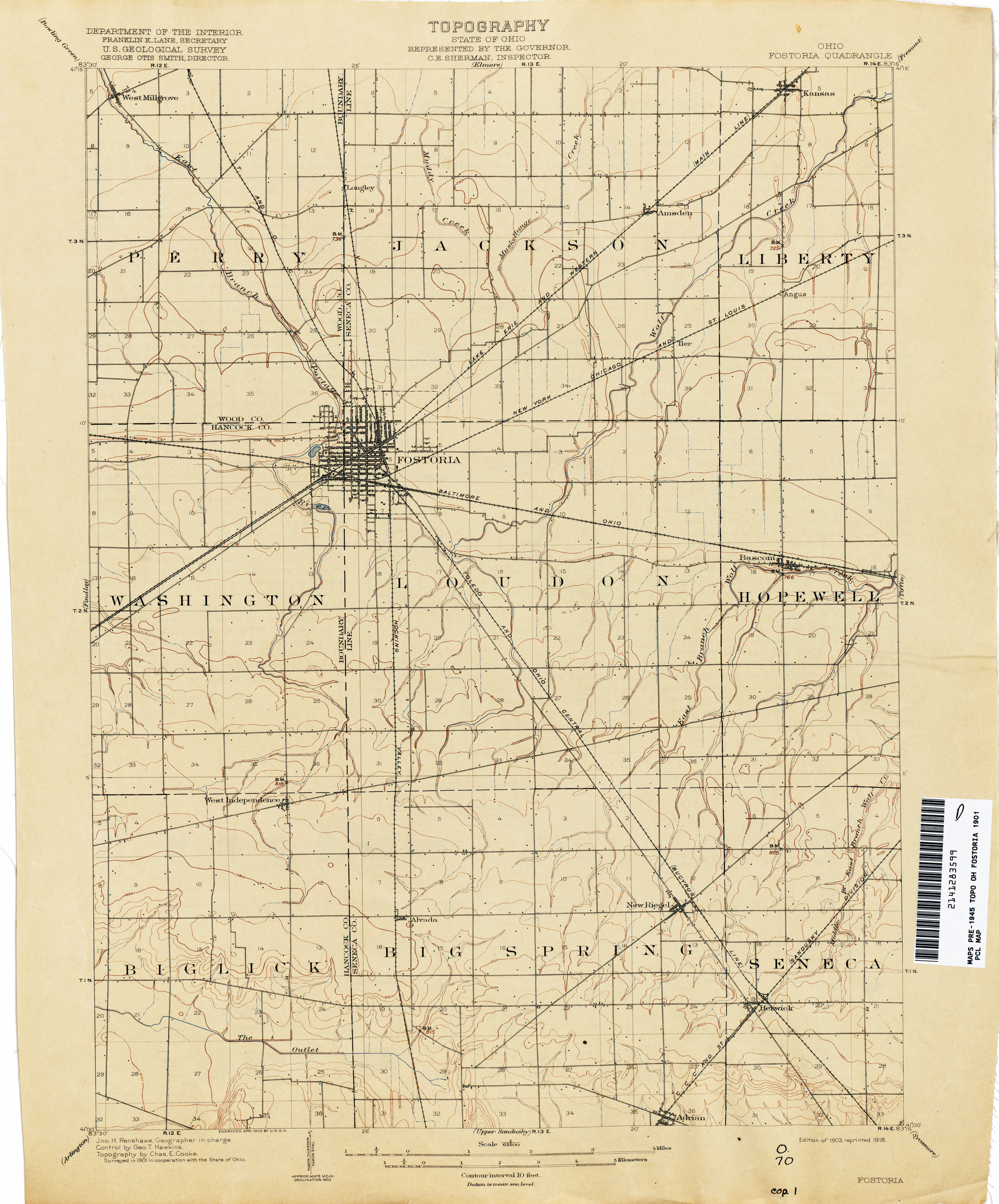 find information topographical map of northeastern hancock county ohio 1901