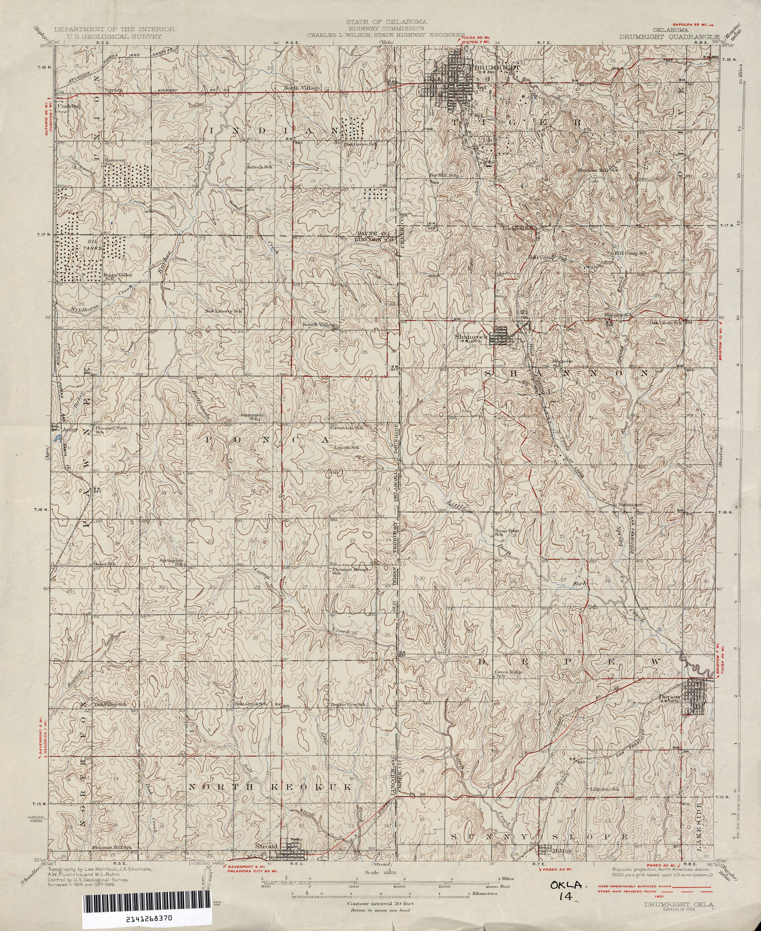 Oklahoma Historical Topographic Maps - Perry-Castañeda Map ...