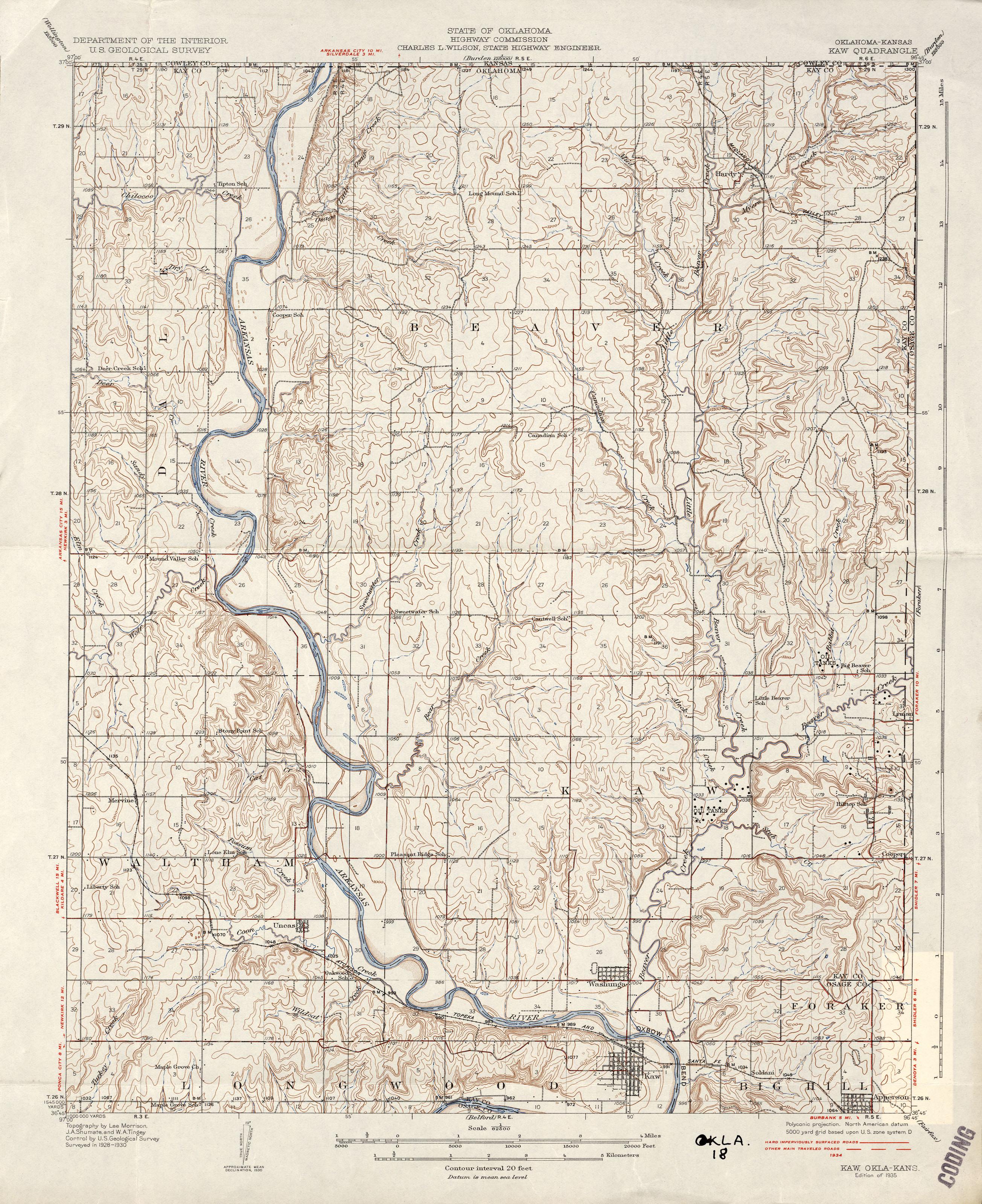 Kaw city ok map