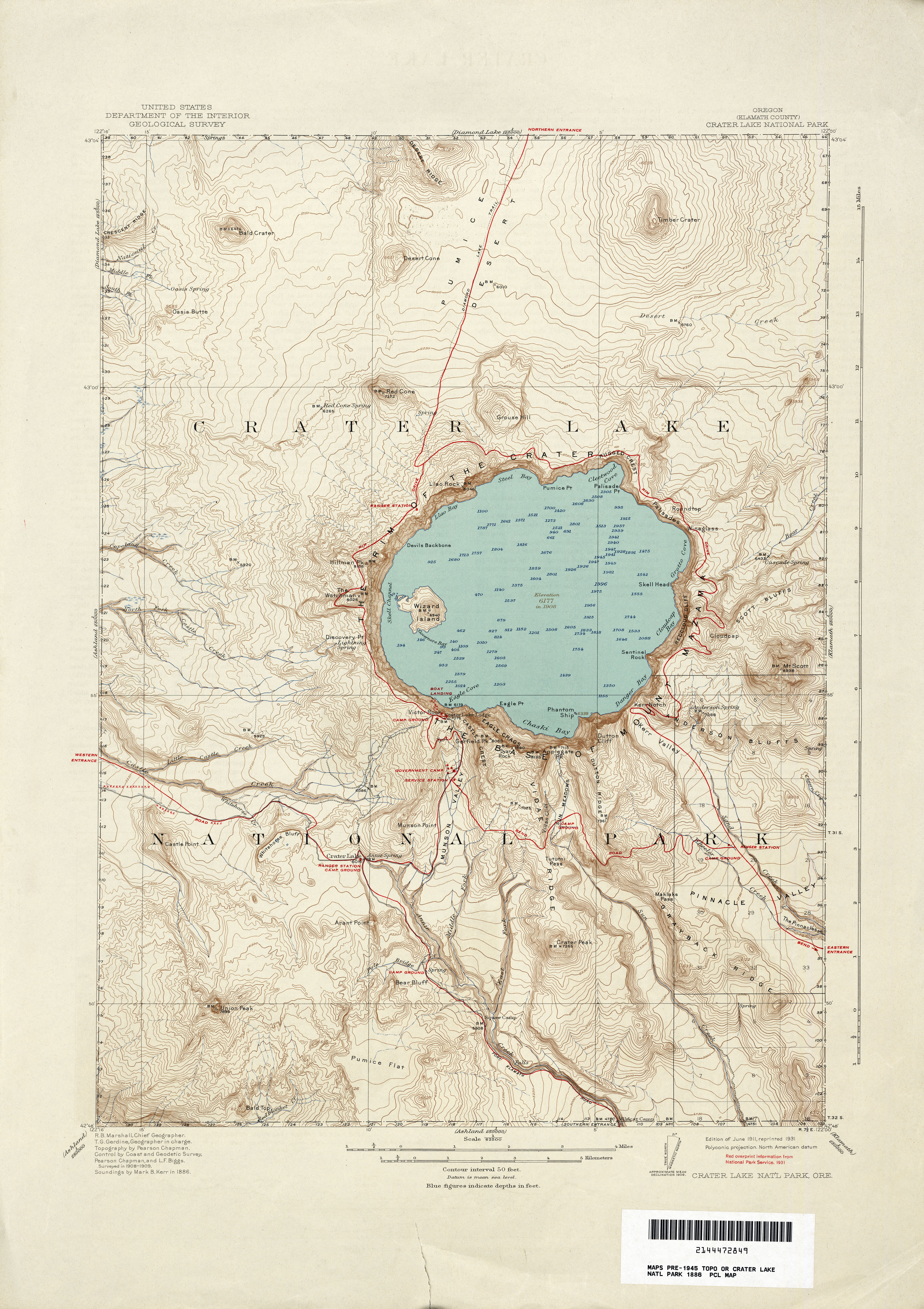 Crater Lake Topographic Map.Oregon Historical Topographic Maps Perry Castaneda Map Collection