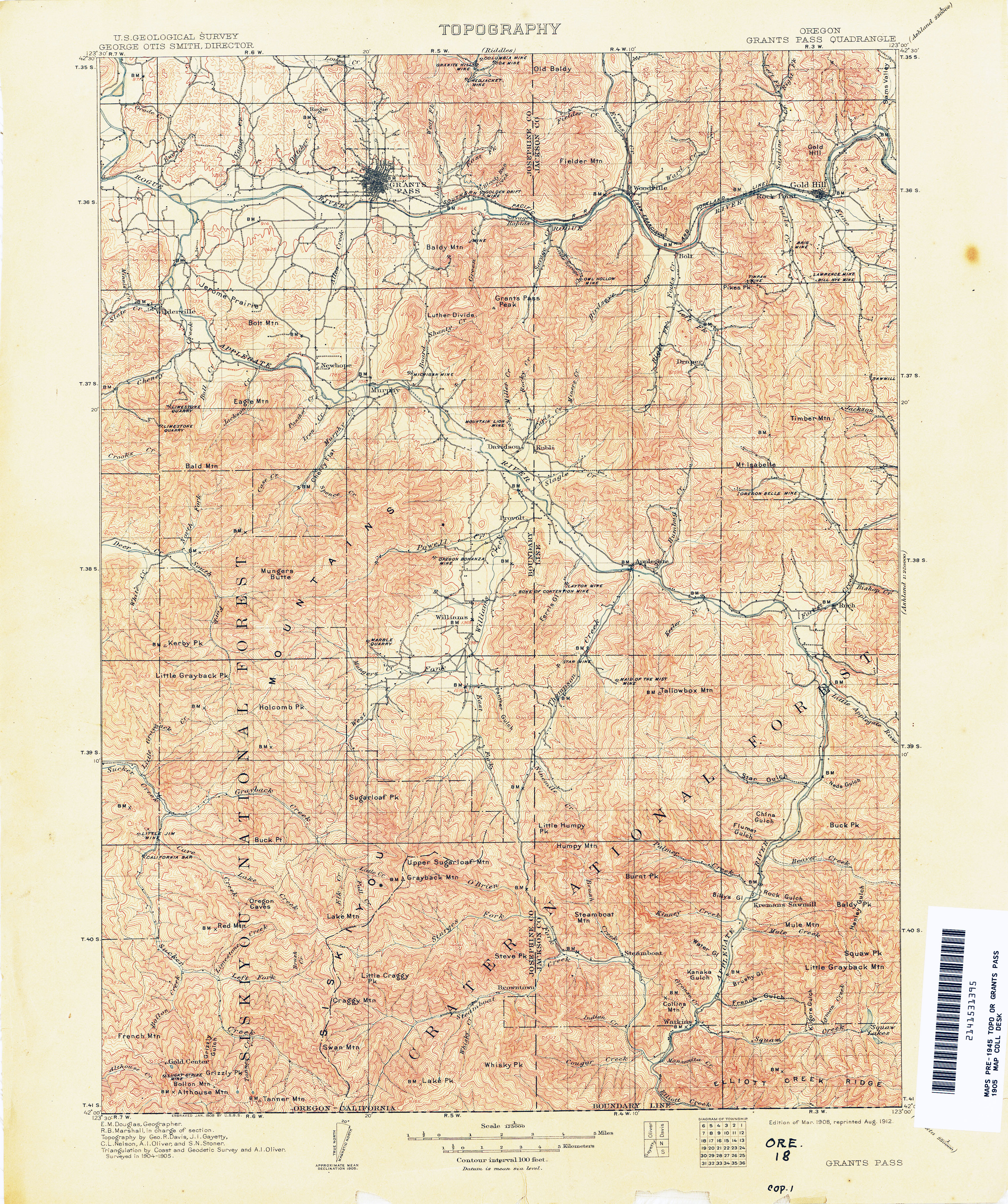 Oregon Historical Topographic Maps PerryCastañeda Map - Us map 1905
