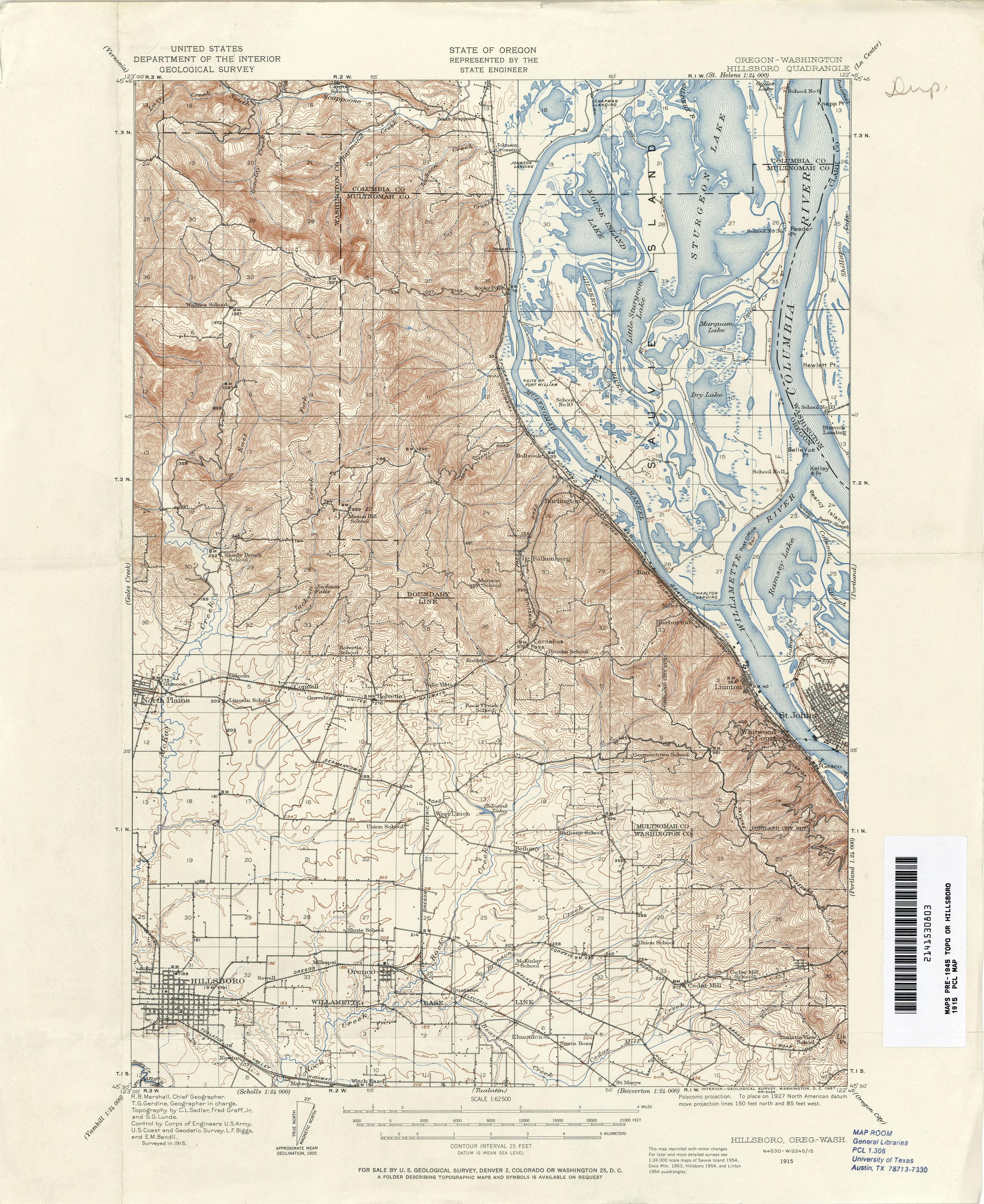 Oregon Historical Topographic Maps PerryCastaeda Map