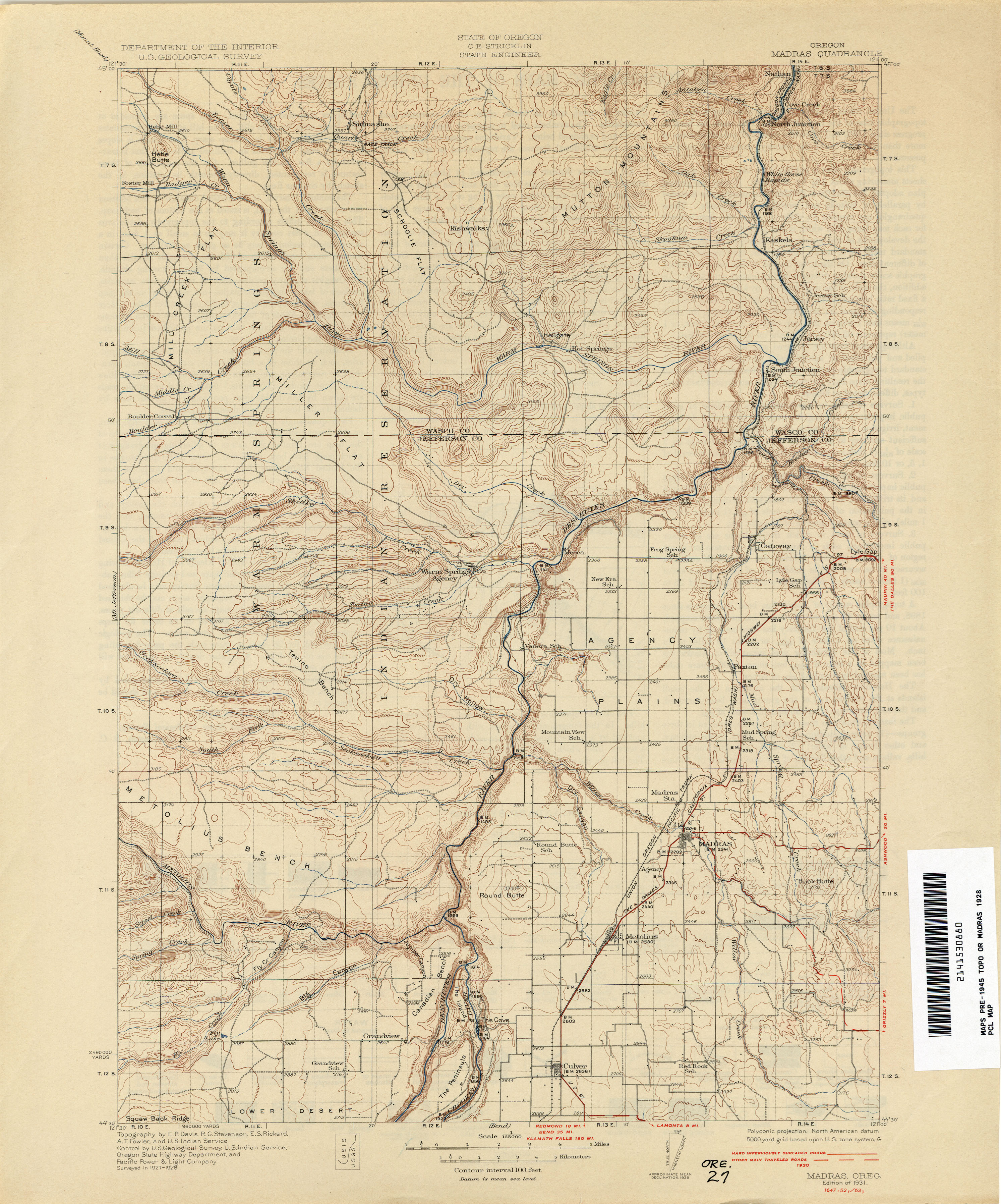 Oregon Historical Topographic Maps - Perry-Castañeda Map