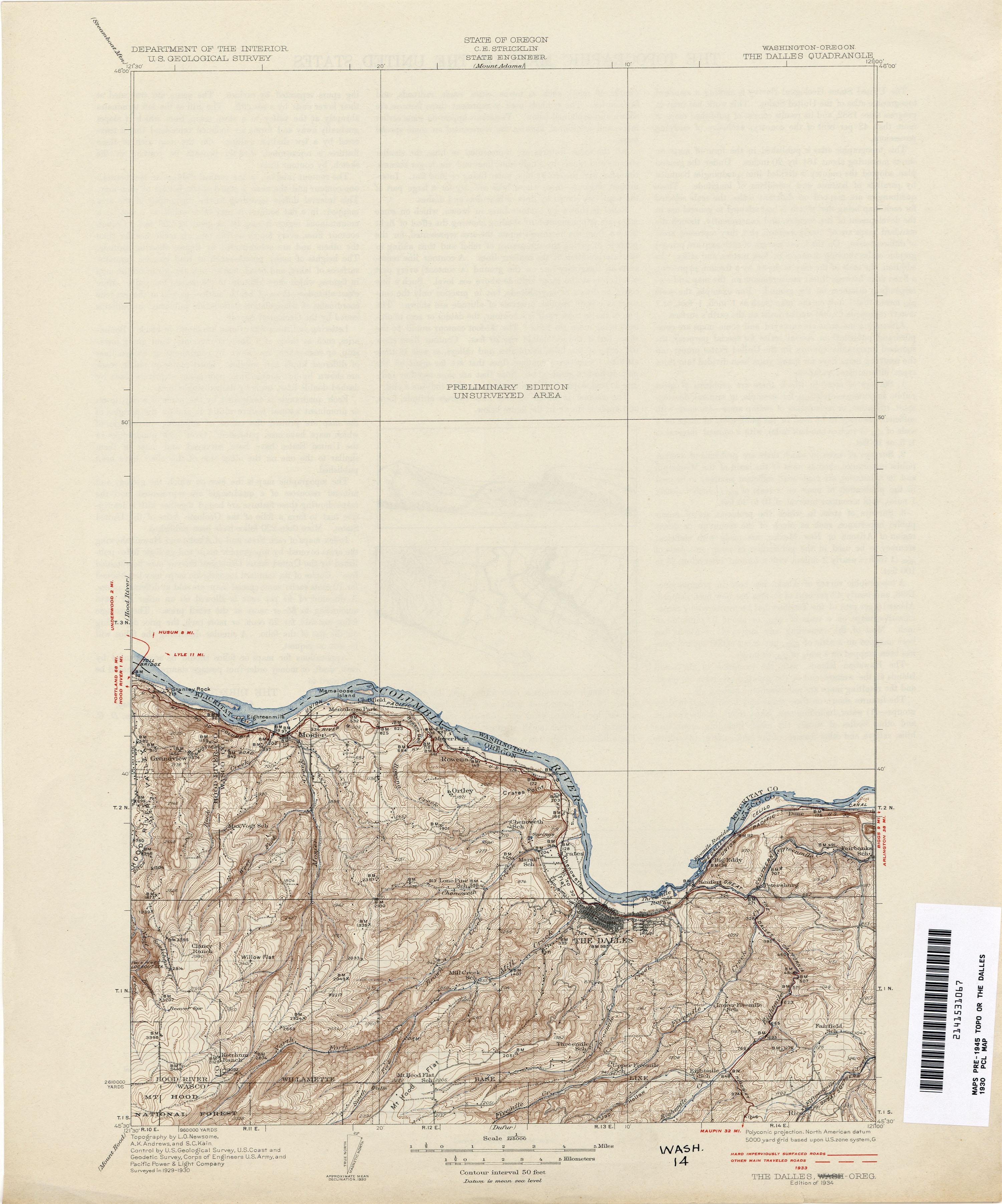 Oregon Historical Topographic Maps PerryCastañeda Map - Washington oregon map