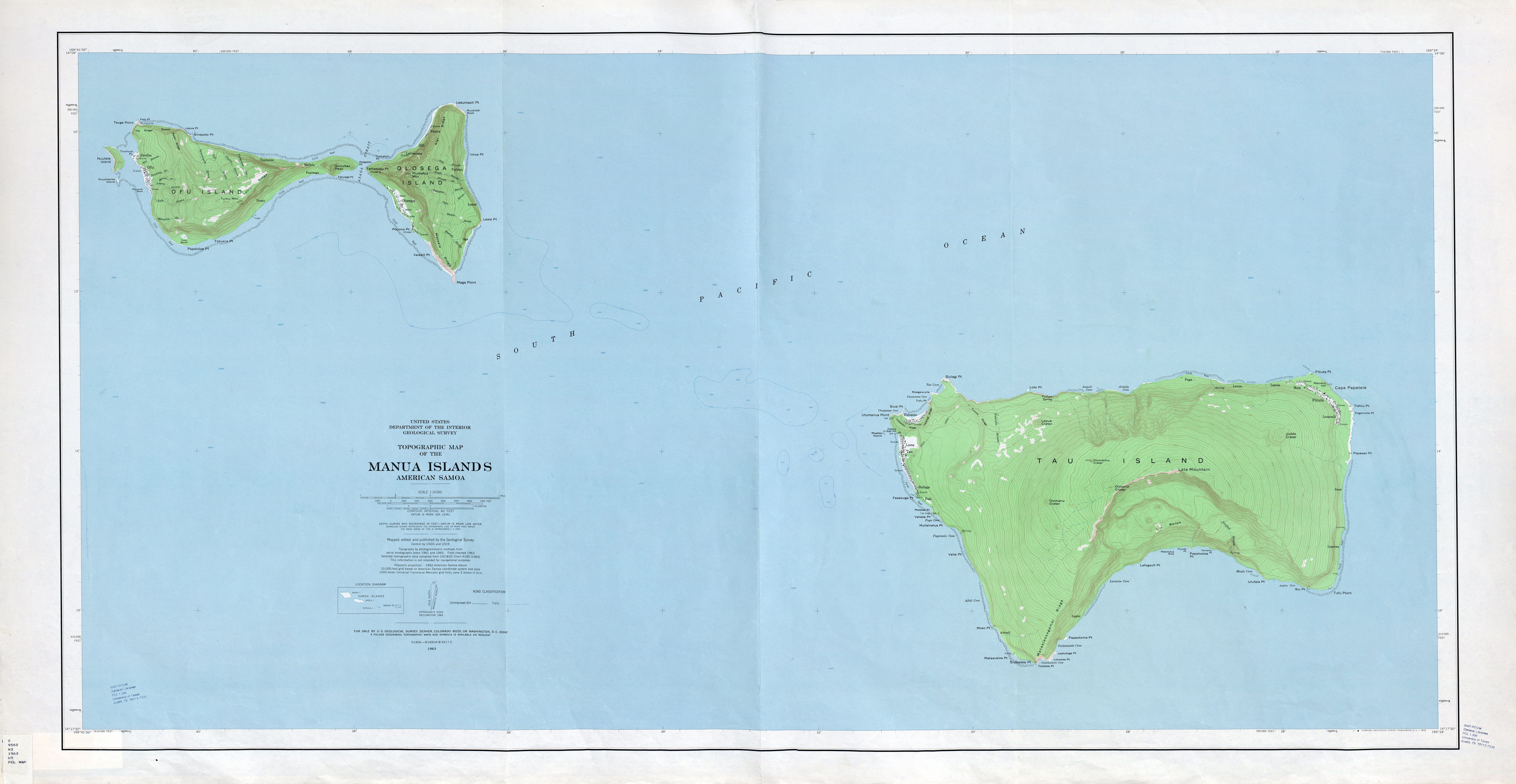 Pacific Islands Topographic Maps PerryCastañeda Map Collection - Islands map