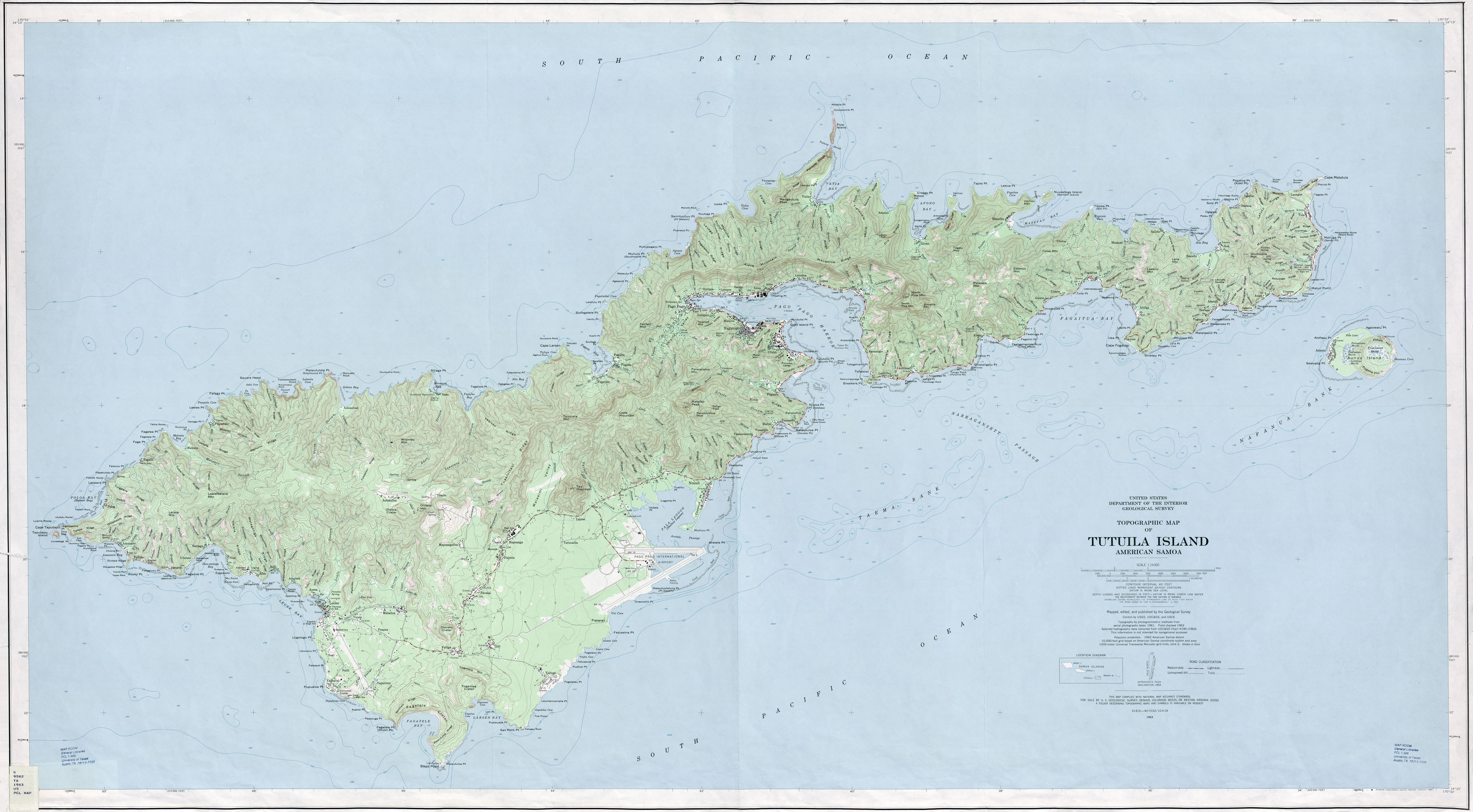 Pacific Islands Topographic Maps PerryCasta eda Map Collection – American Somoa Map