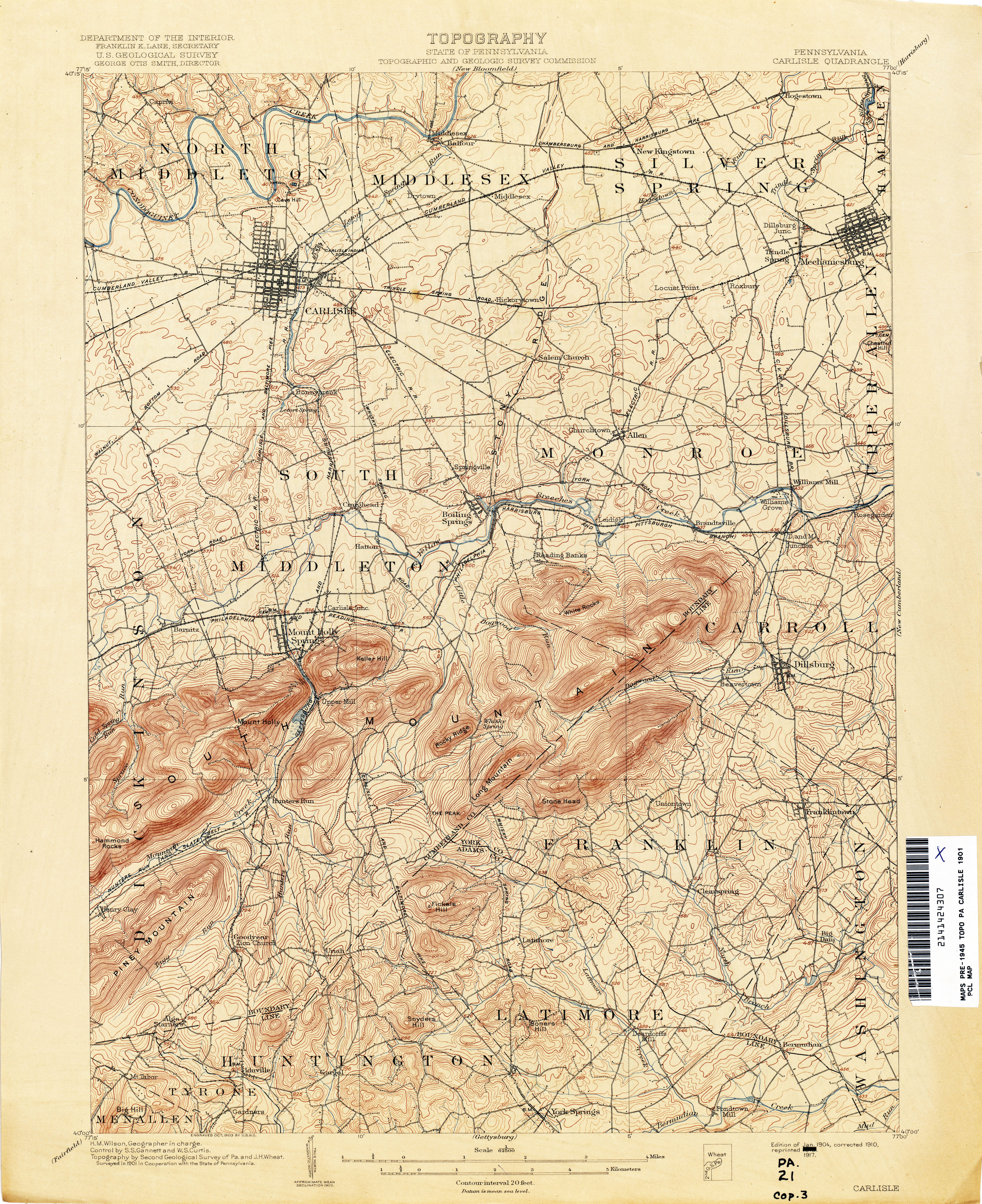 Gettysburg Topographic Map.Pennsylvania Historical Topographic Maps Perry Castaneda Map
