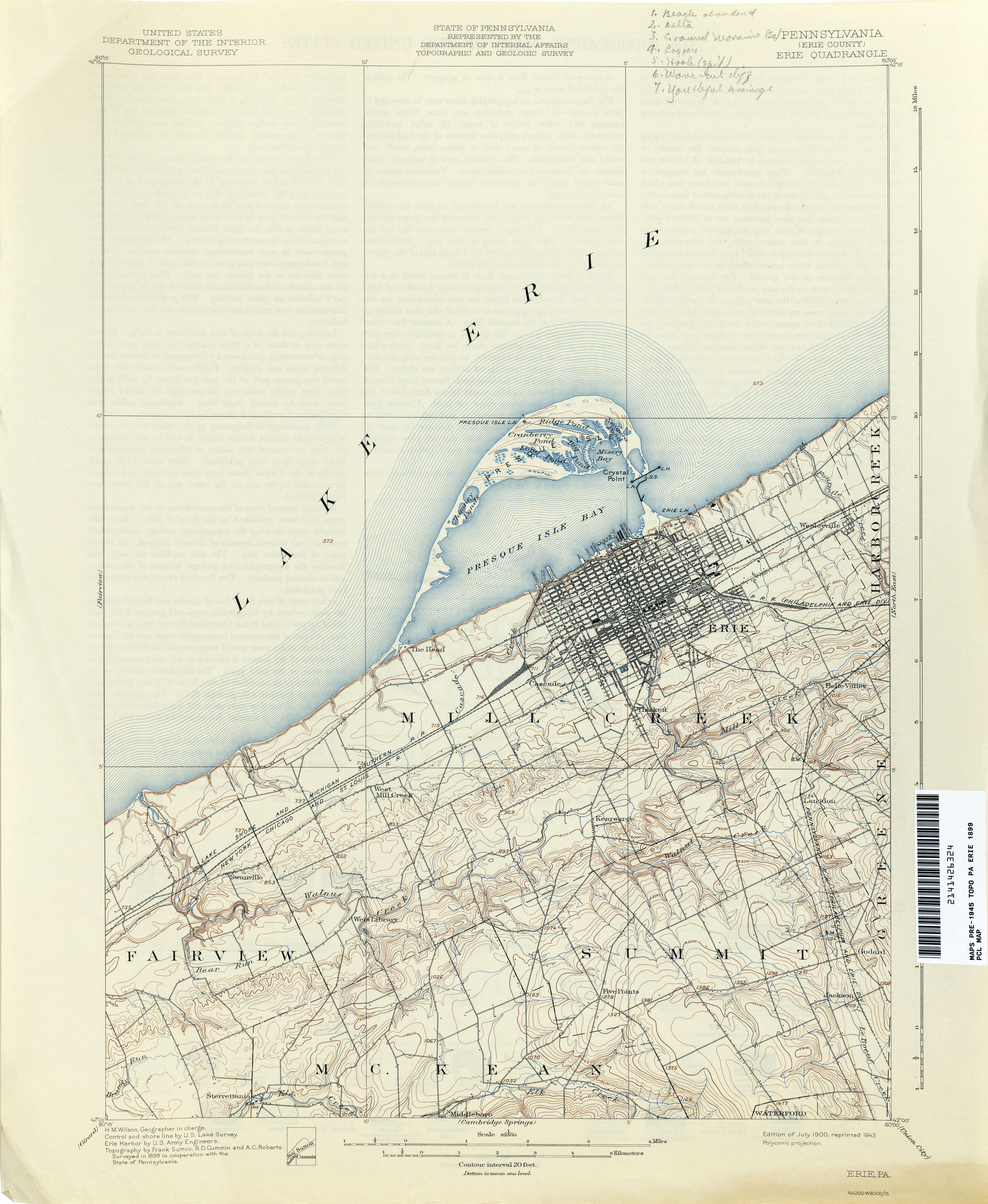 Pennsylvania Historical Topographic Maps PerryCastañeda Map - Lake erie topographic map