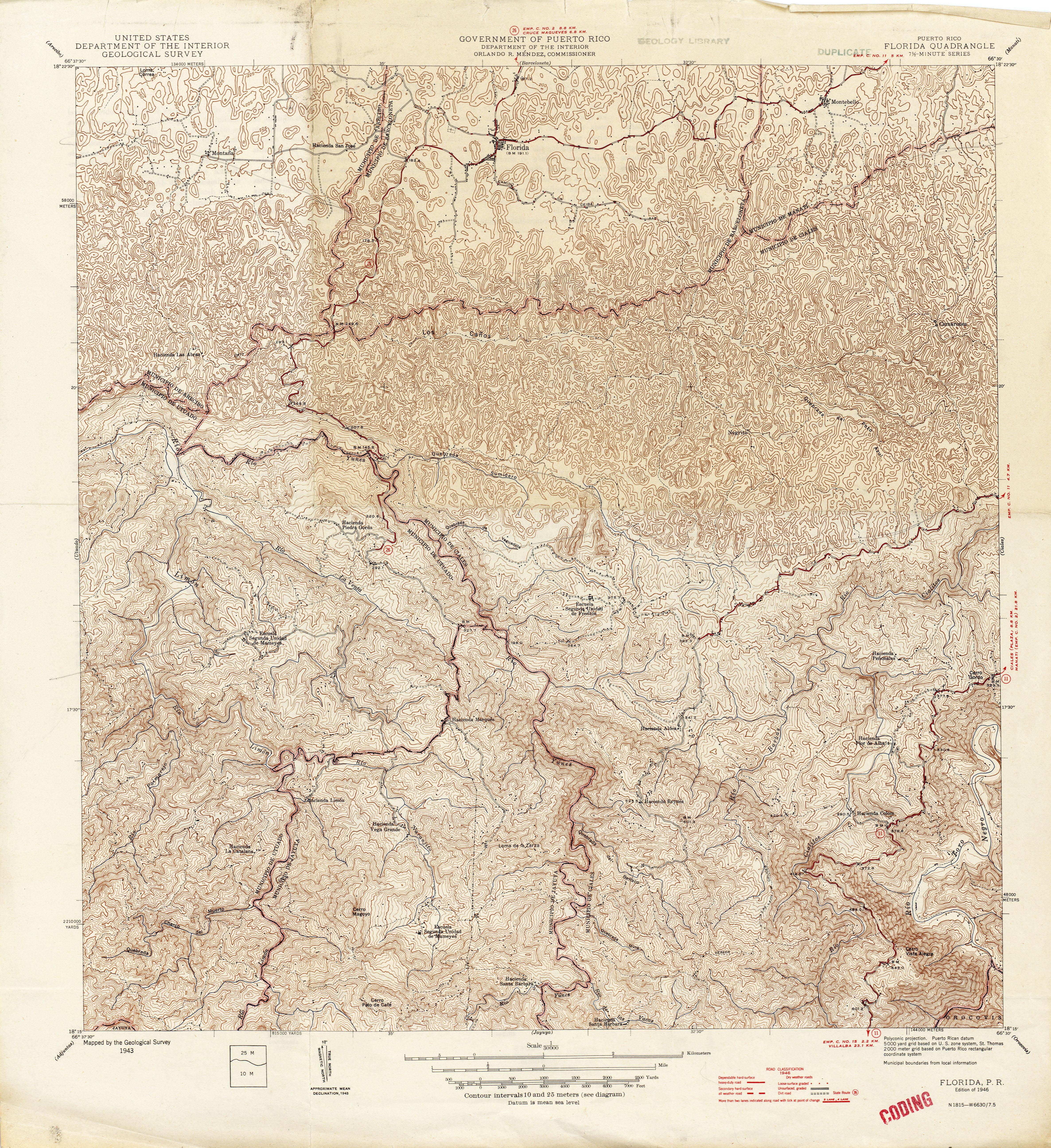 Puerto Rico Historical Topographic Maps PerryCastañeda Map - Florida quad map