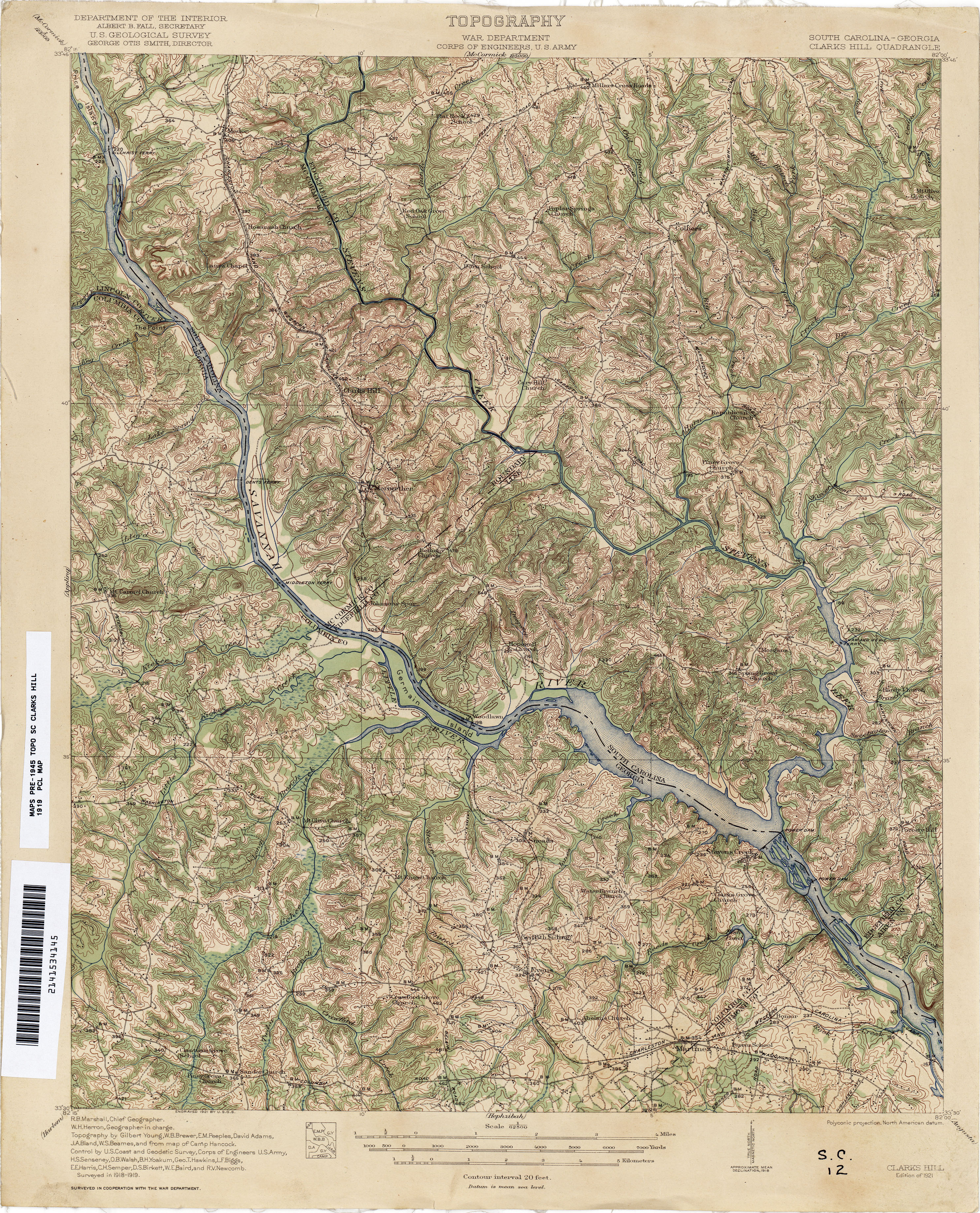 Georgia Historical Topographic Maps PerryCastañeda Map - South carolina elevation map