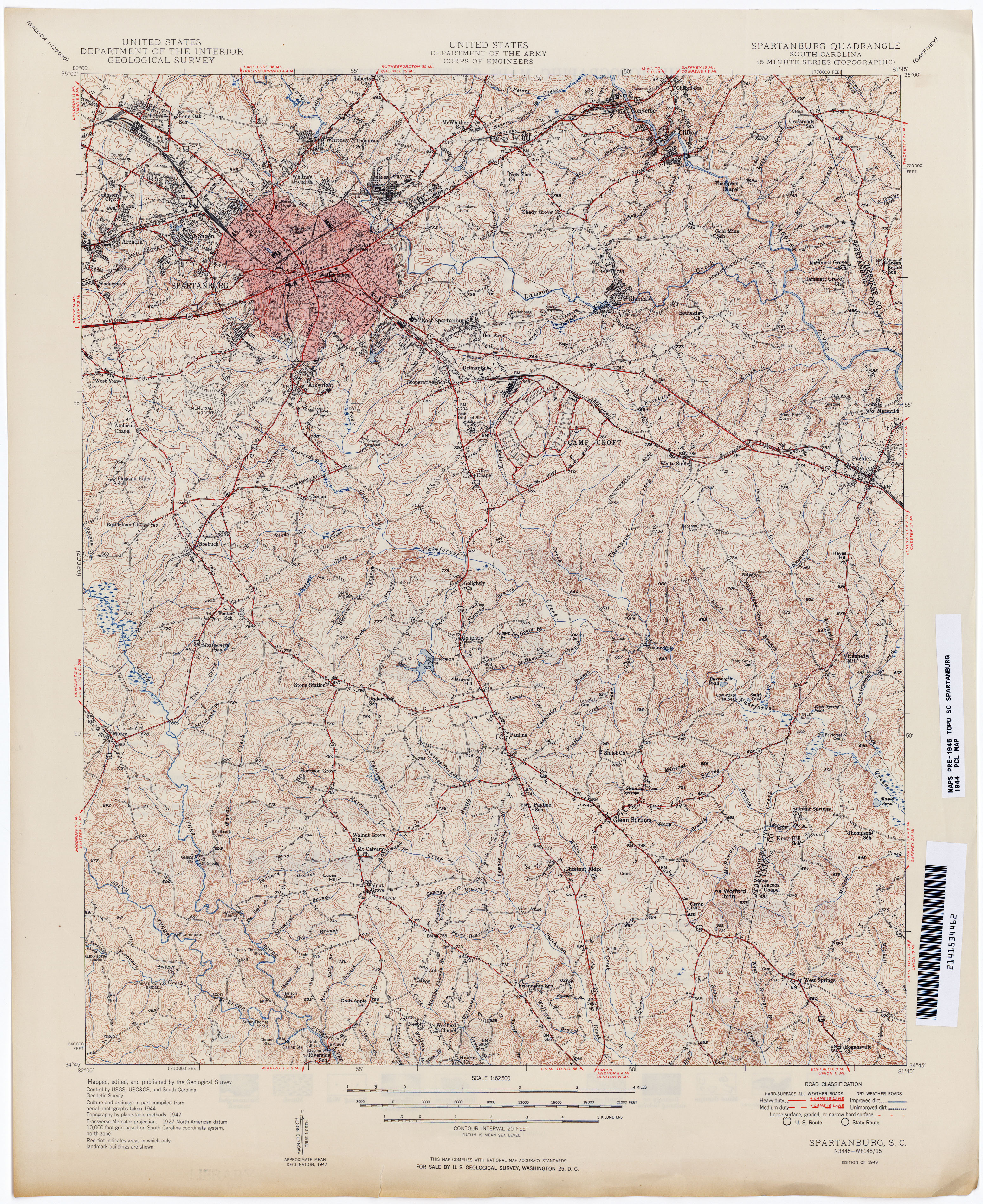 South Carolina Historical Topographic Maps PerryCastañeda Map - Spartanburg county south carolina on us map