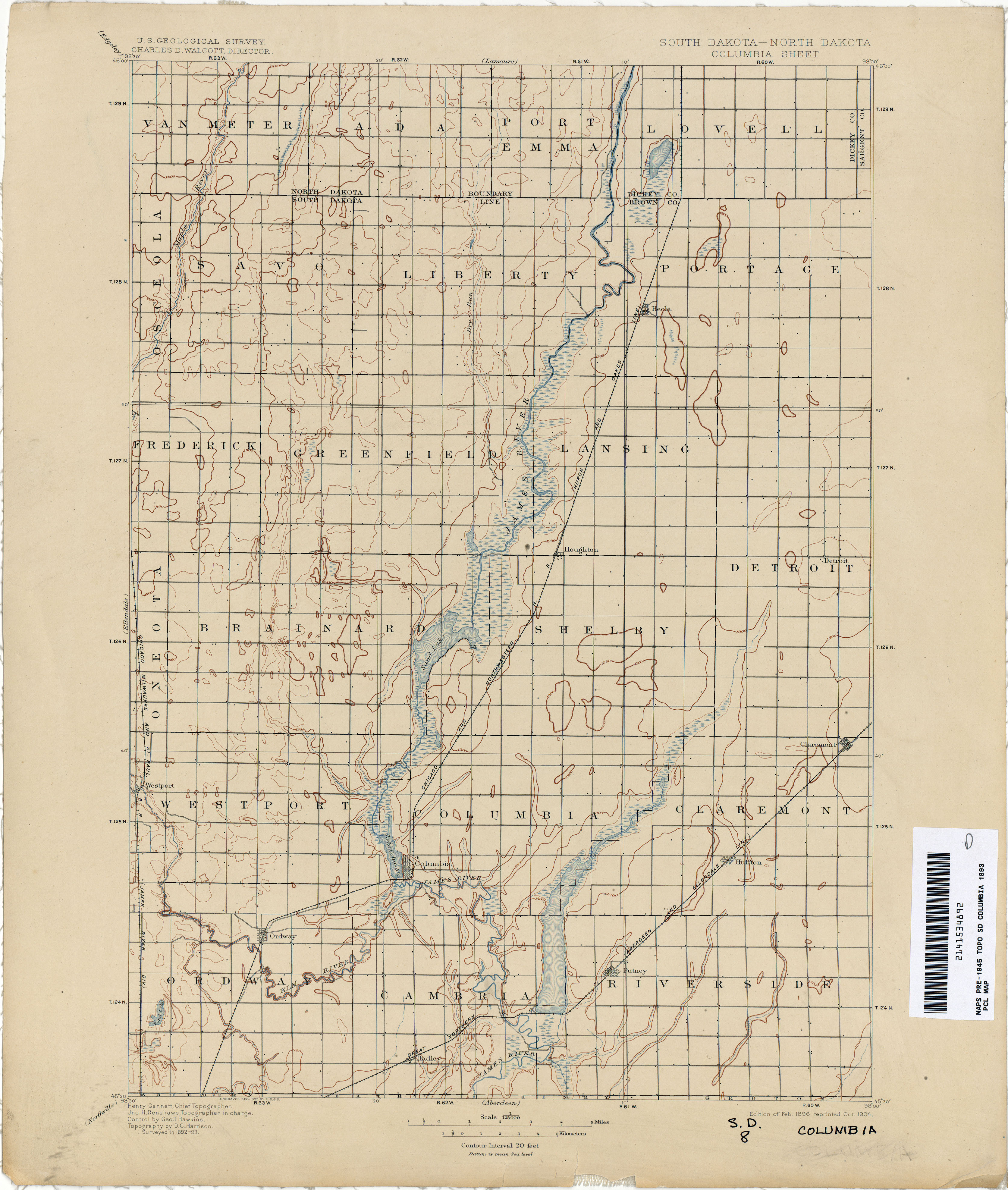 North Dakota Historical Topographic Maps PerryCastañeda Map - Map of south and north dakota