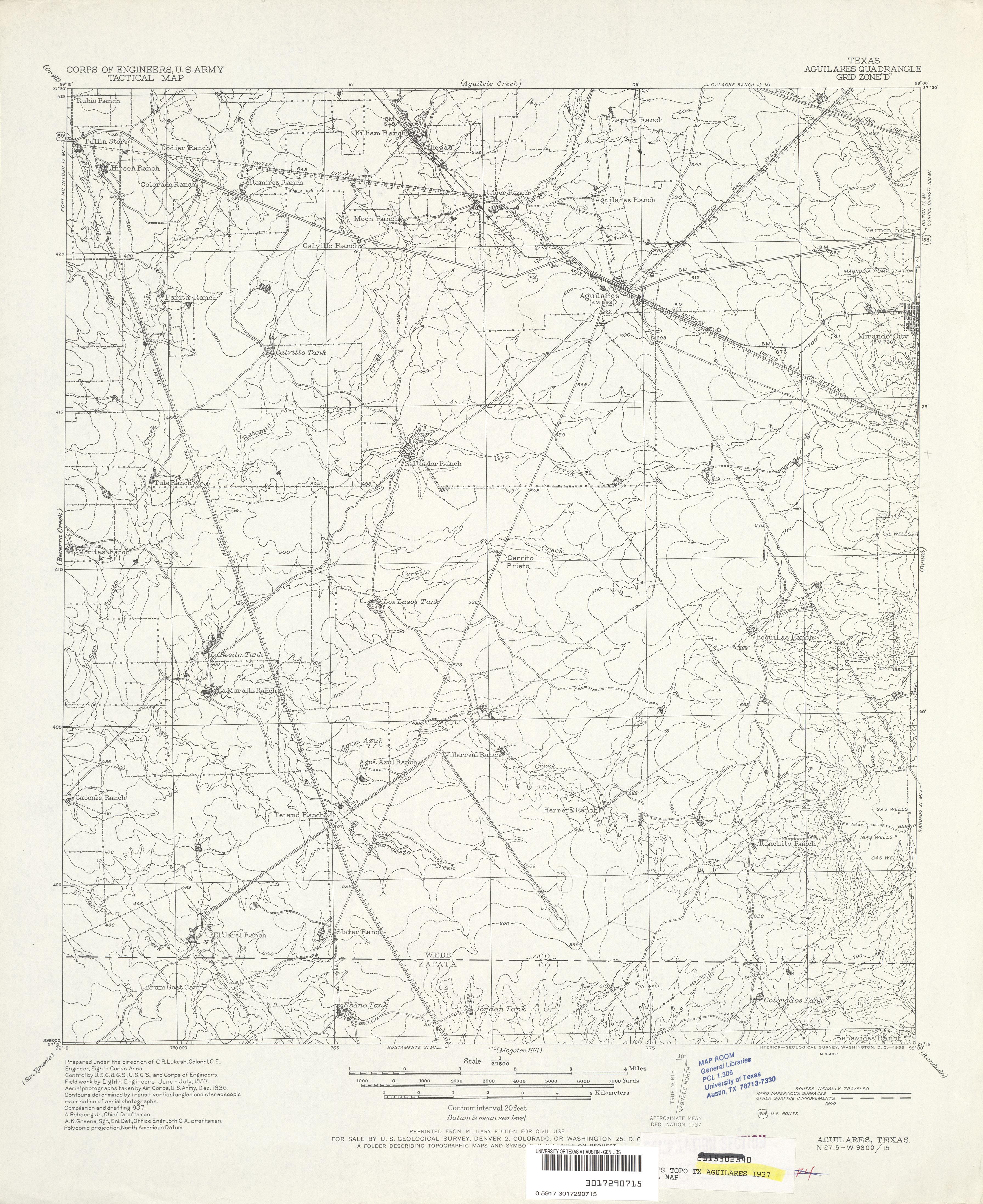 1940 Overprint 4 0 Mb U S Army Corps Of Engineers