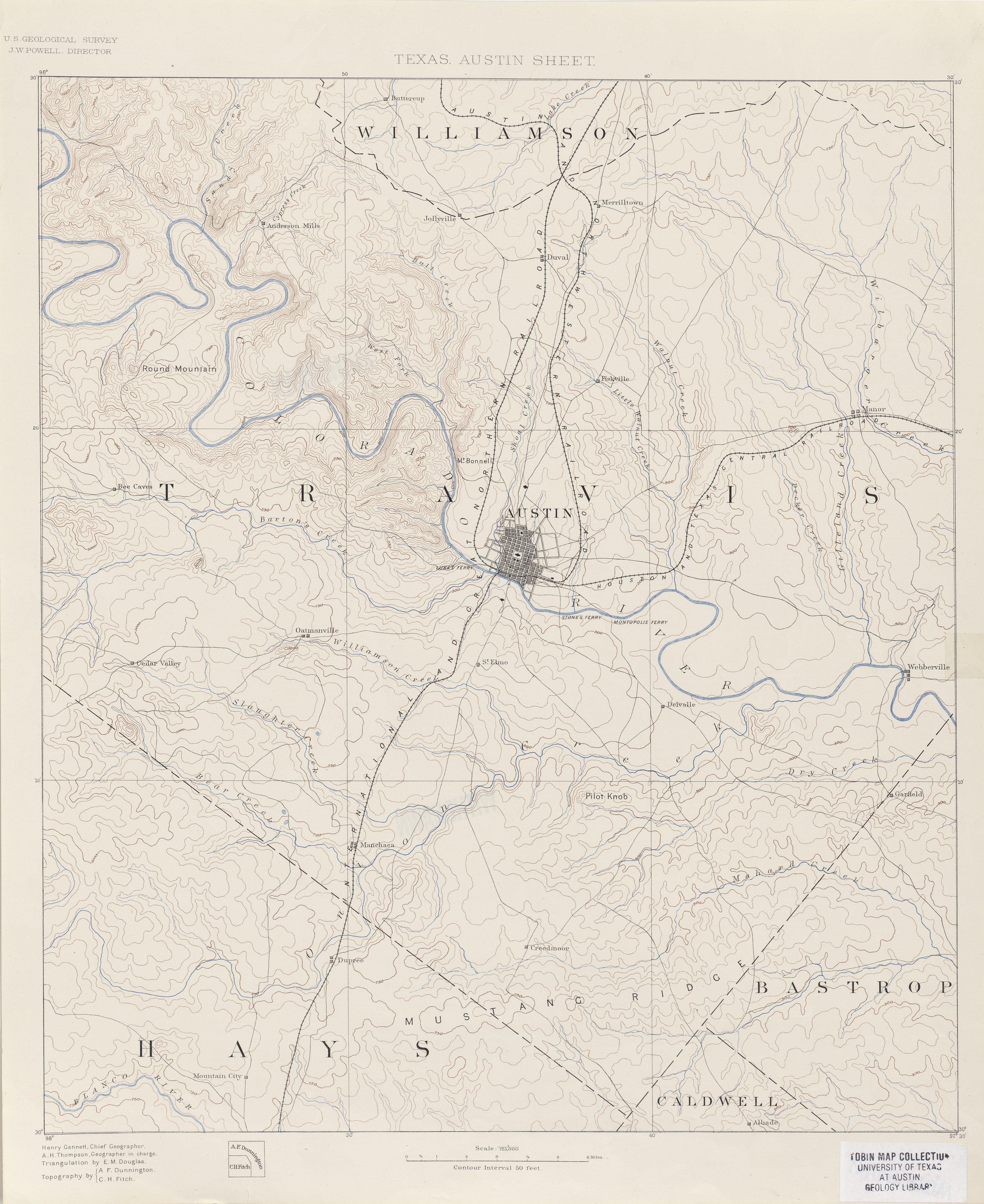 Austin Texas Topographic Maps PerryCastañeda Map Collection - Us topographic road map