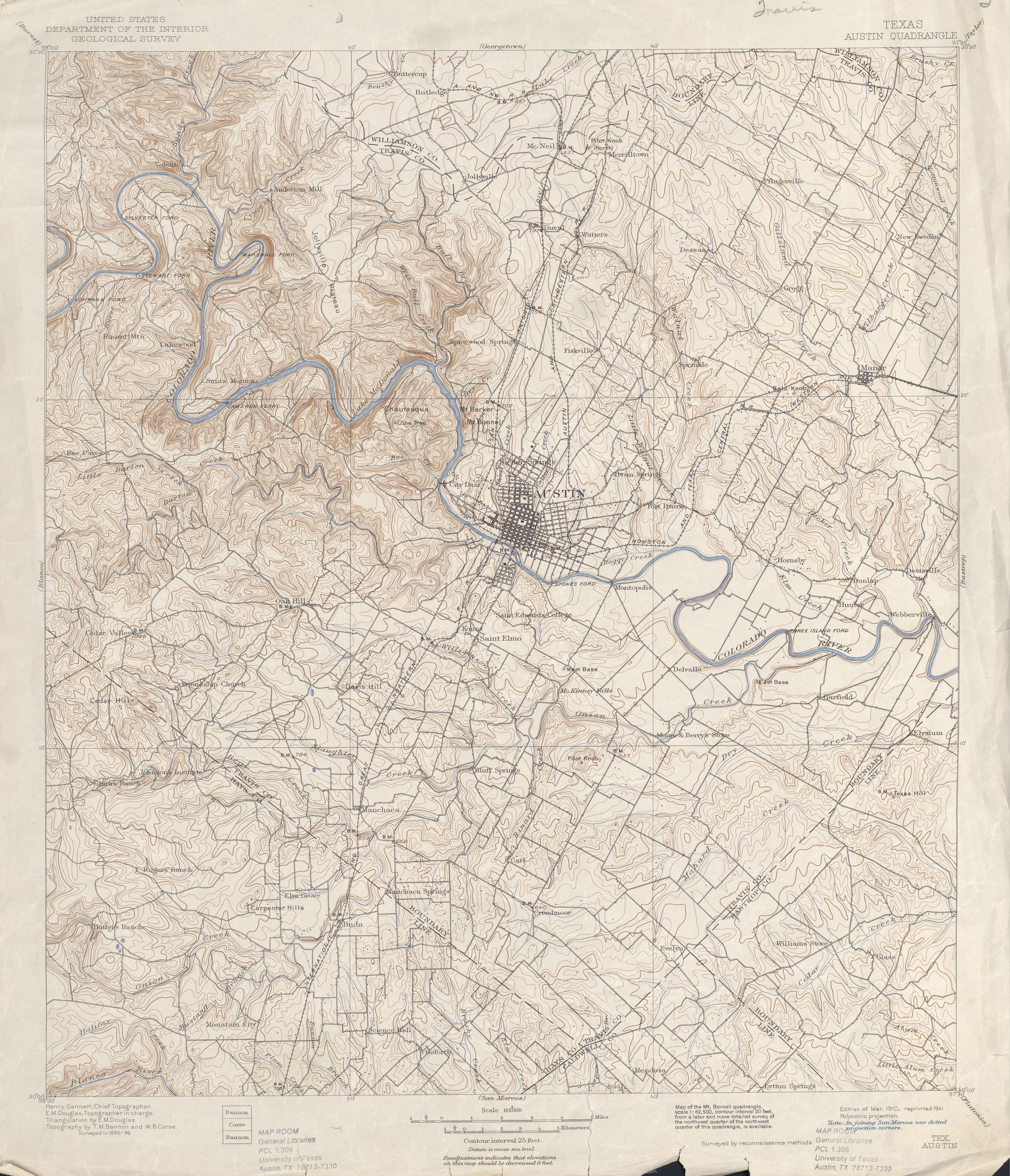Austin Texas Topographic Maps  PerryCastaeda Map Collection