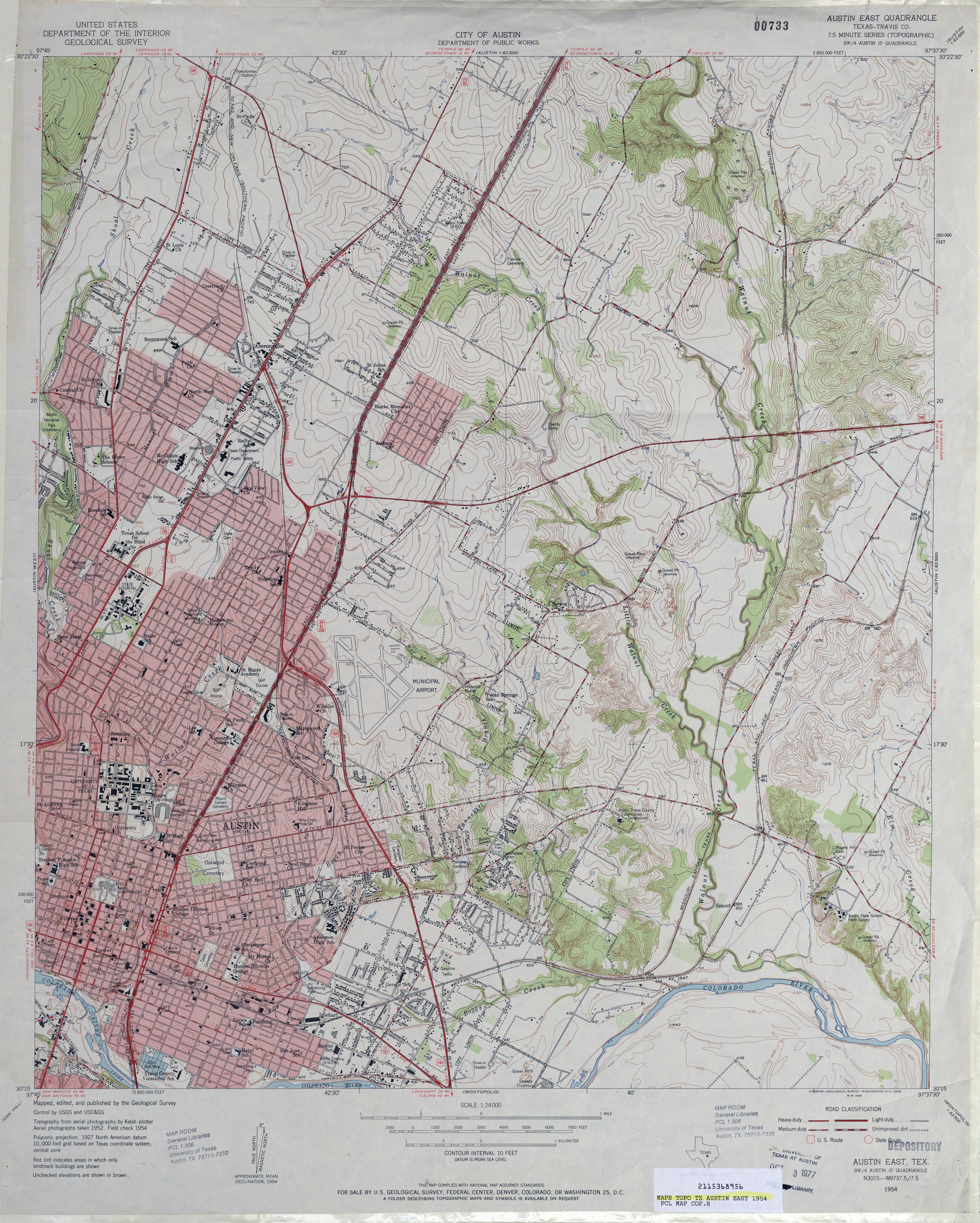 Austin Texas Topographic Maps PerryCastaeda Map Collection UT