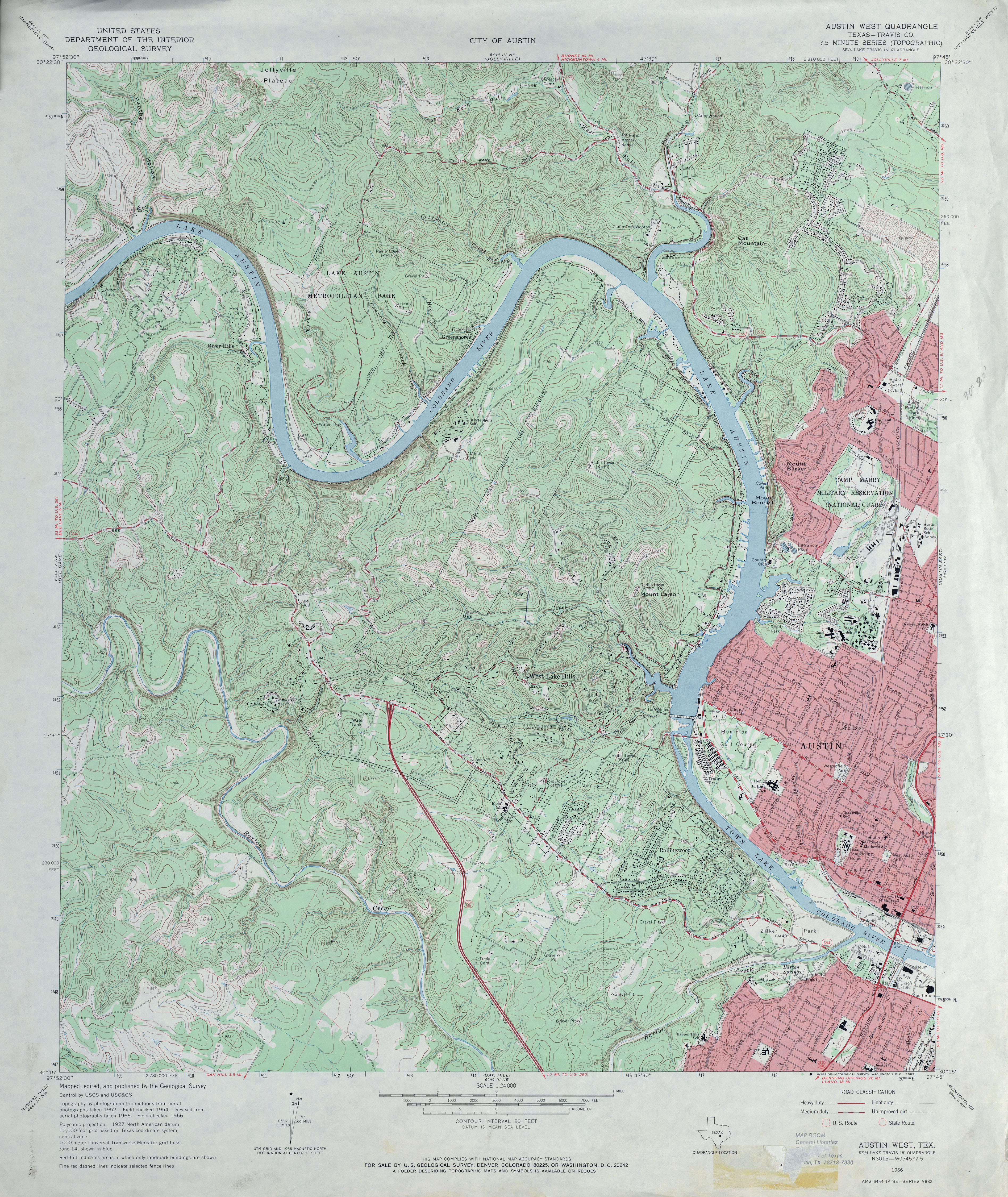 Austin, Texas Topographic Maps - Perry-Castañeda Map Collection - UT ...