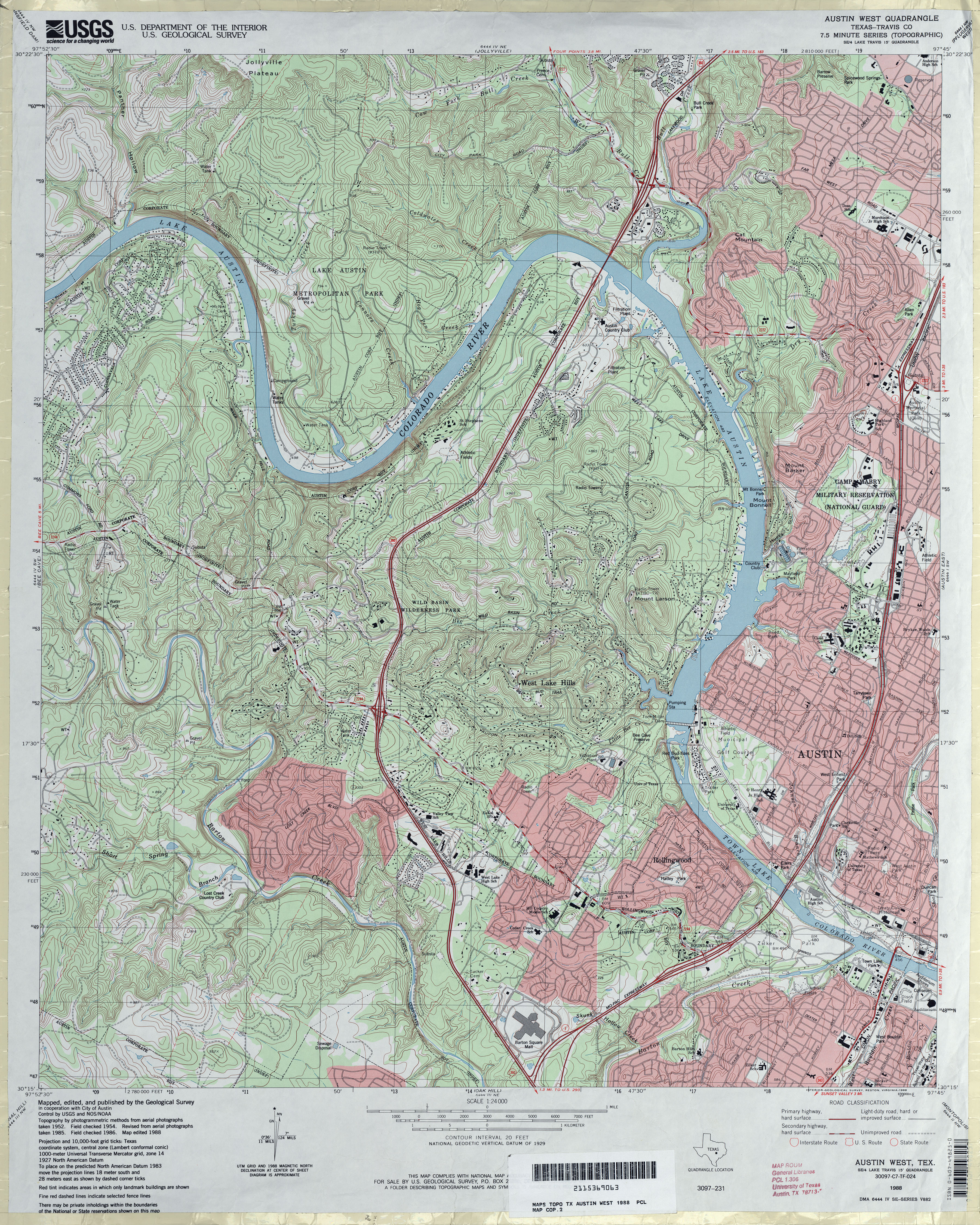 Austin Texas Topographic Maps Perry Castaneda Map Collection Ut