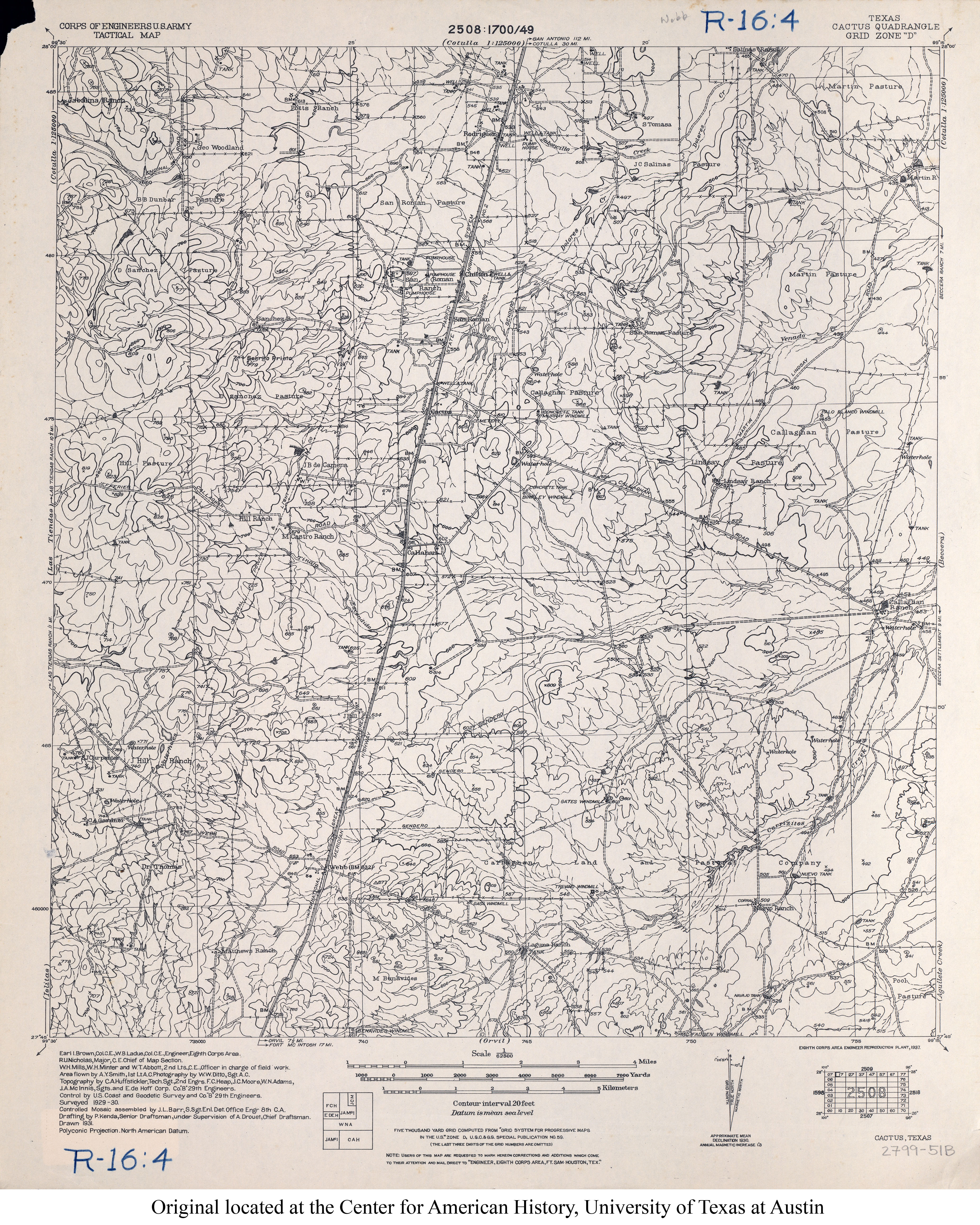 1930 4 6mb U S Army Corps Of Engineers Tactical Map