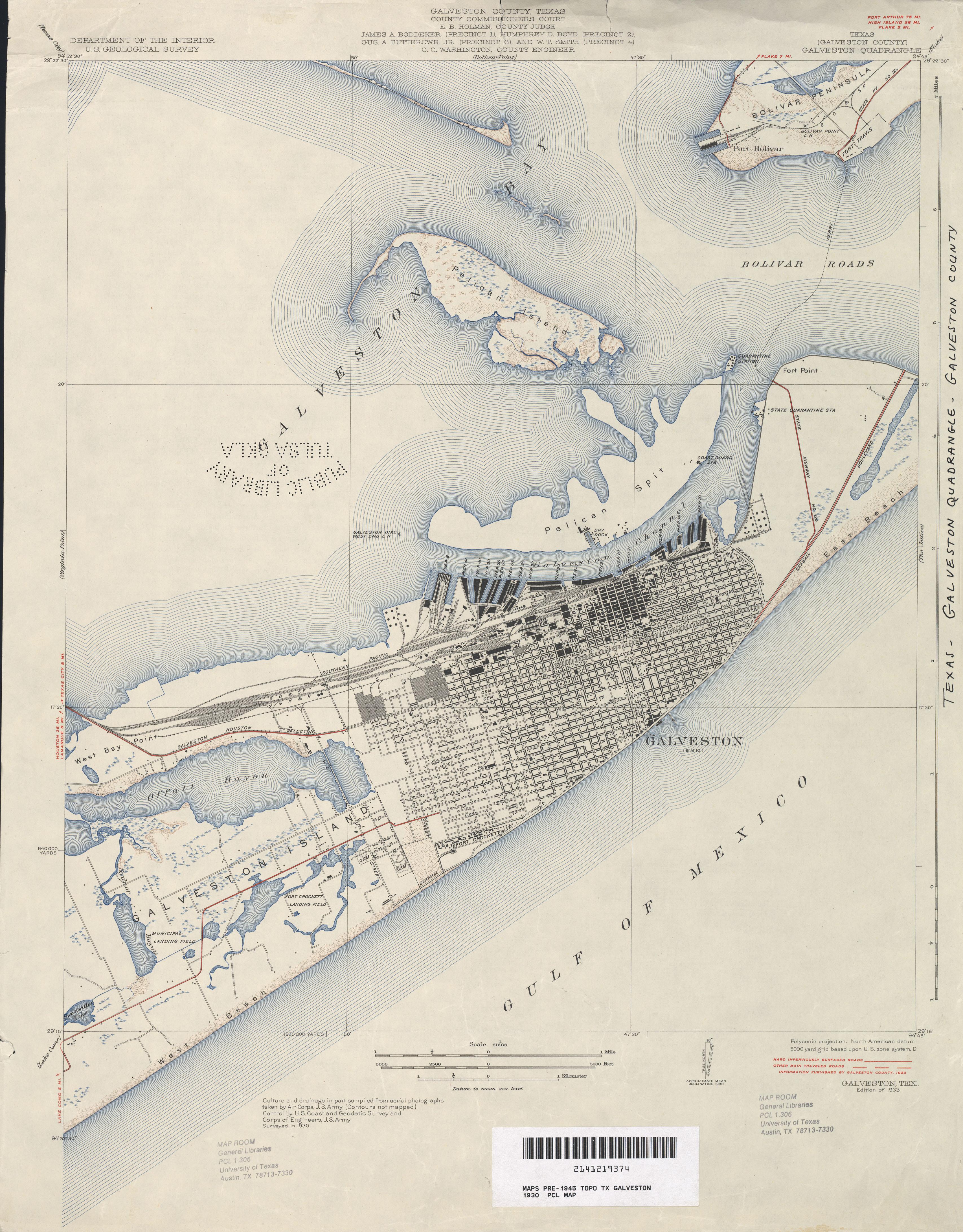 Galveston Island Topographic Map