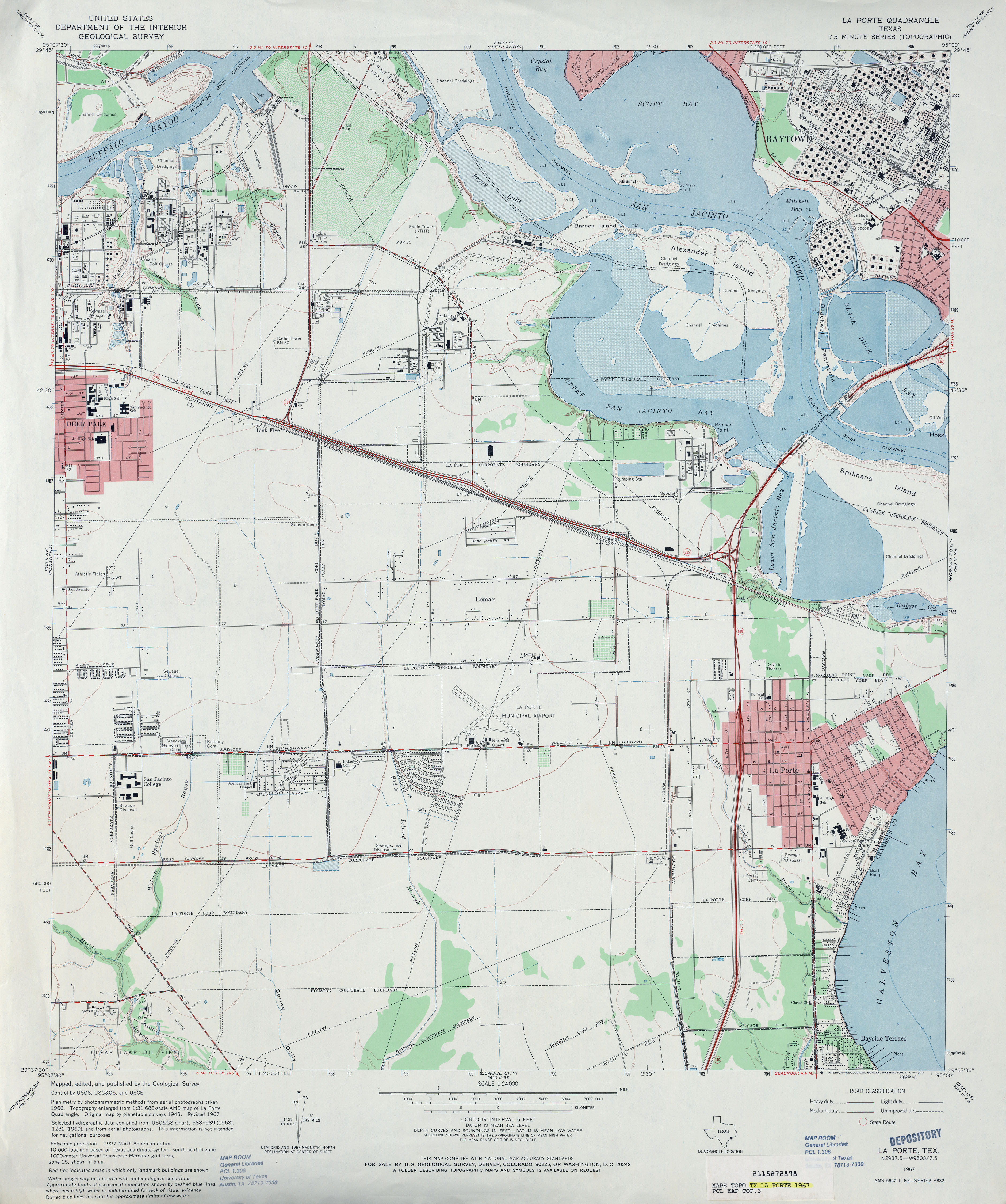 Texas topographic maps perry casta eda map collection for What county is la porte tx in