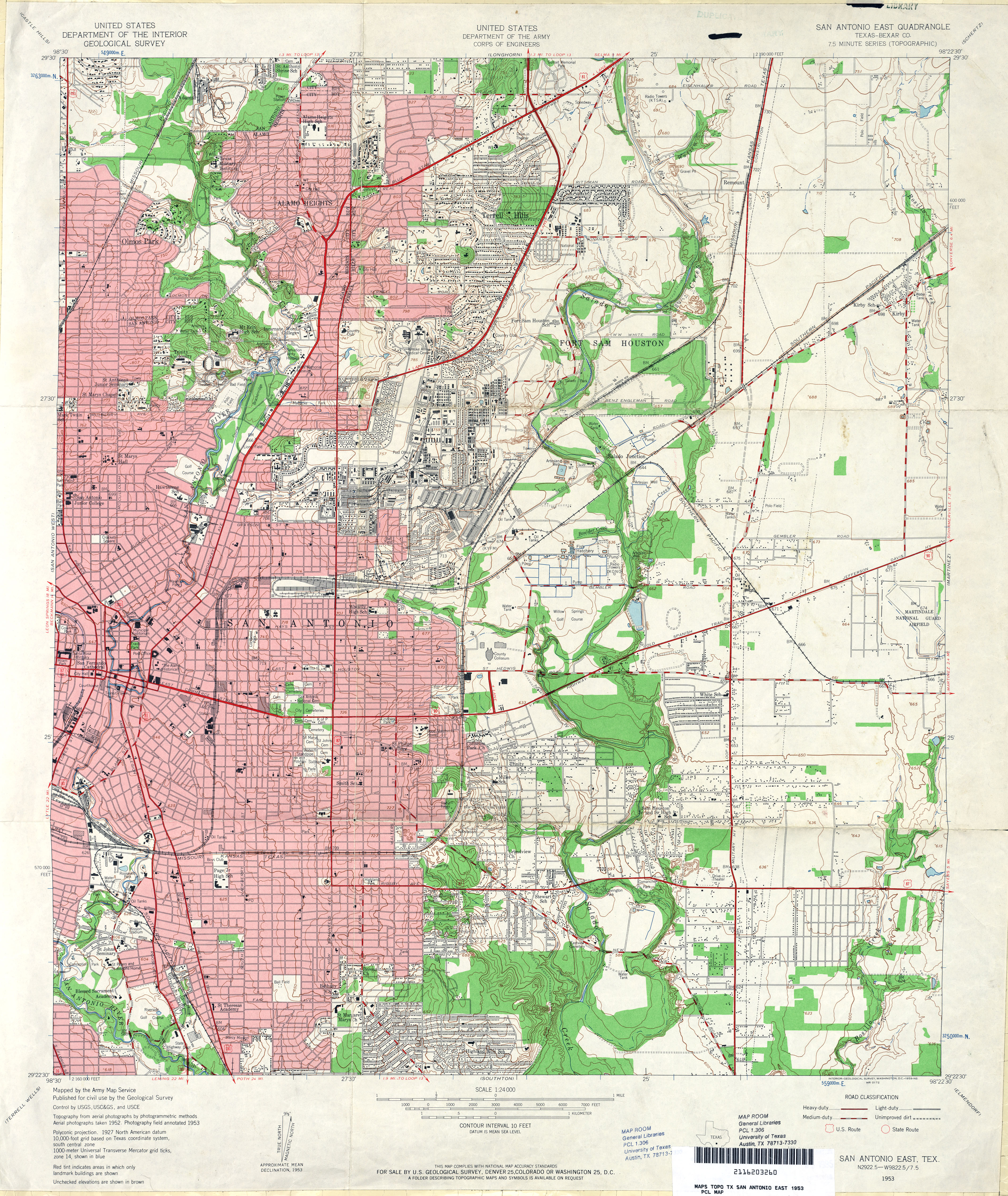 Texas Topographic Maps Perry Castaneda Map Collection Ut Library - San-antonio-us-map