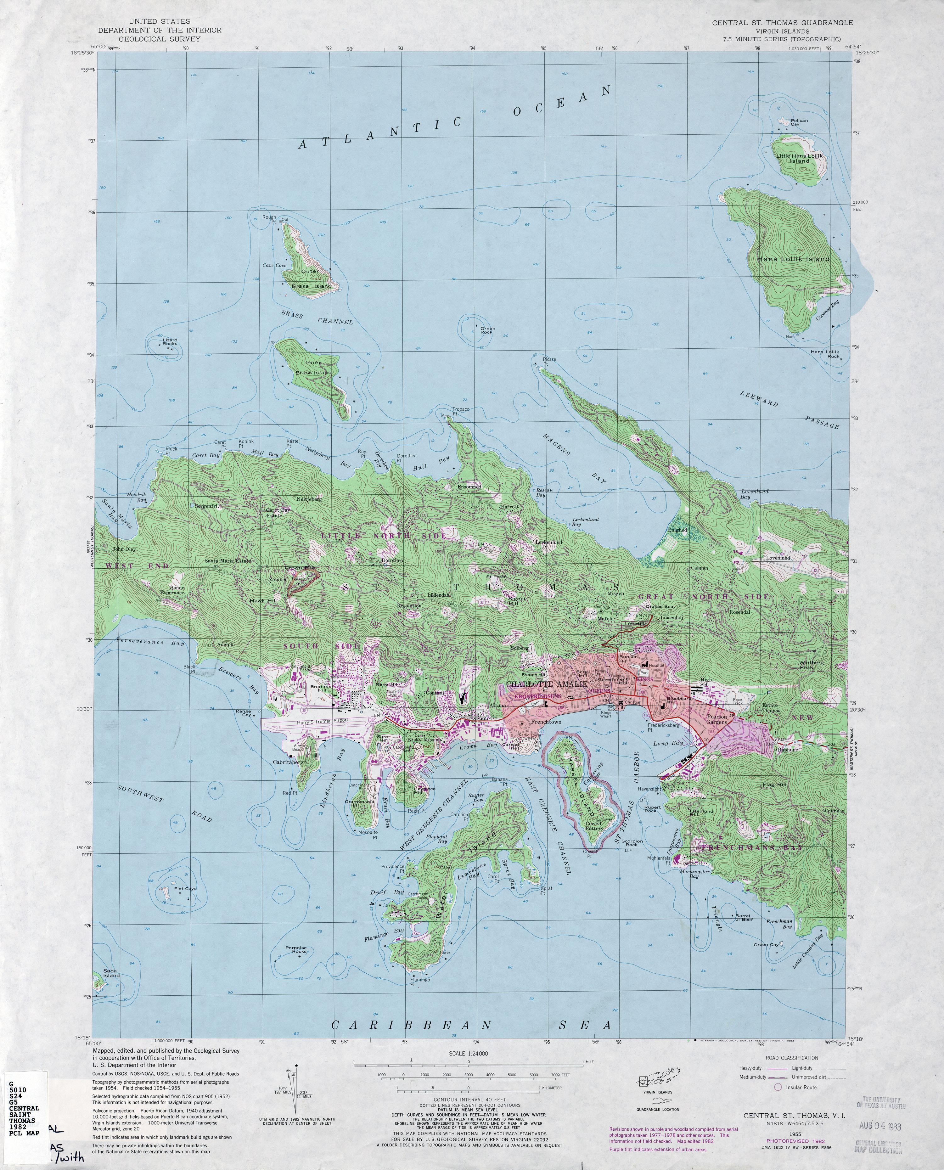 US Virgin Islands Topographic Maps PerryCasta eda Map – St Thomas Tourist Map