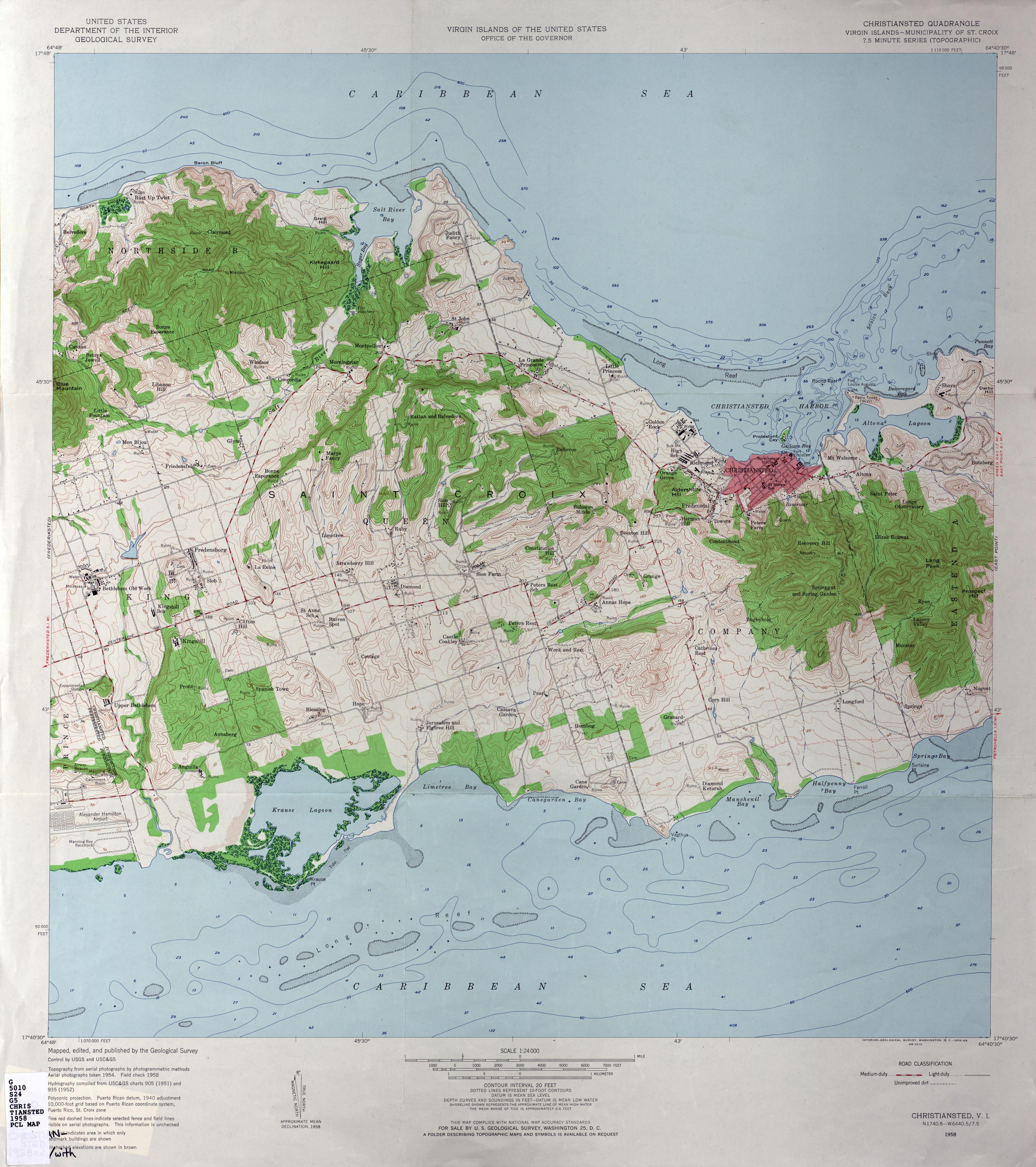 US Virgin Islands Topographic Maps PerryCastañeda Map - Map of st croix us virgin islands