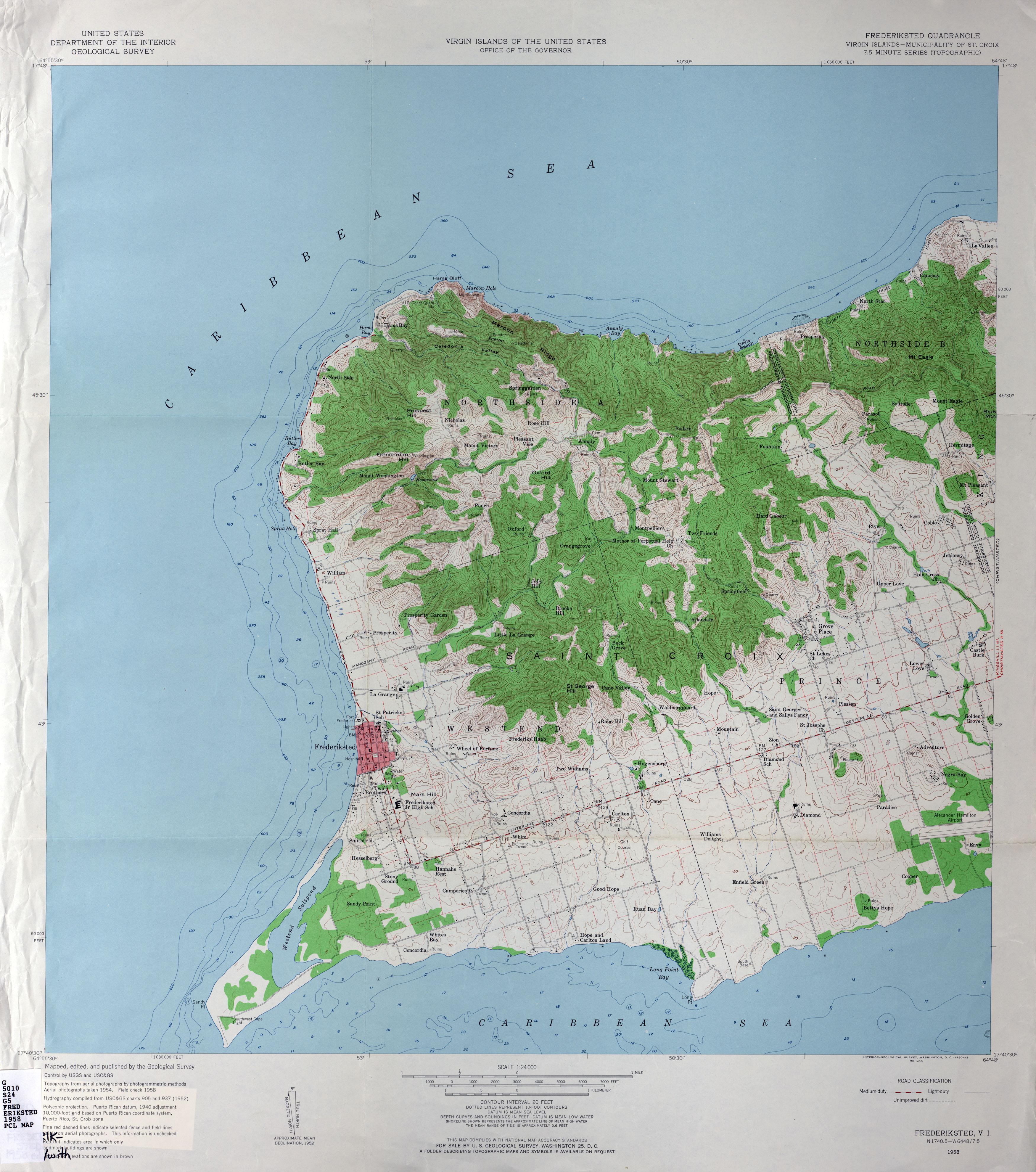 US Virgin Islands Topographic Maps PerryCastañeda Map - St croix us virgin islands map