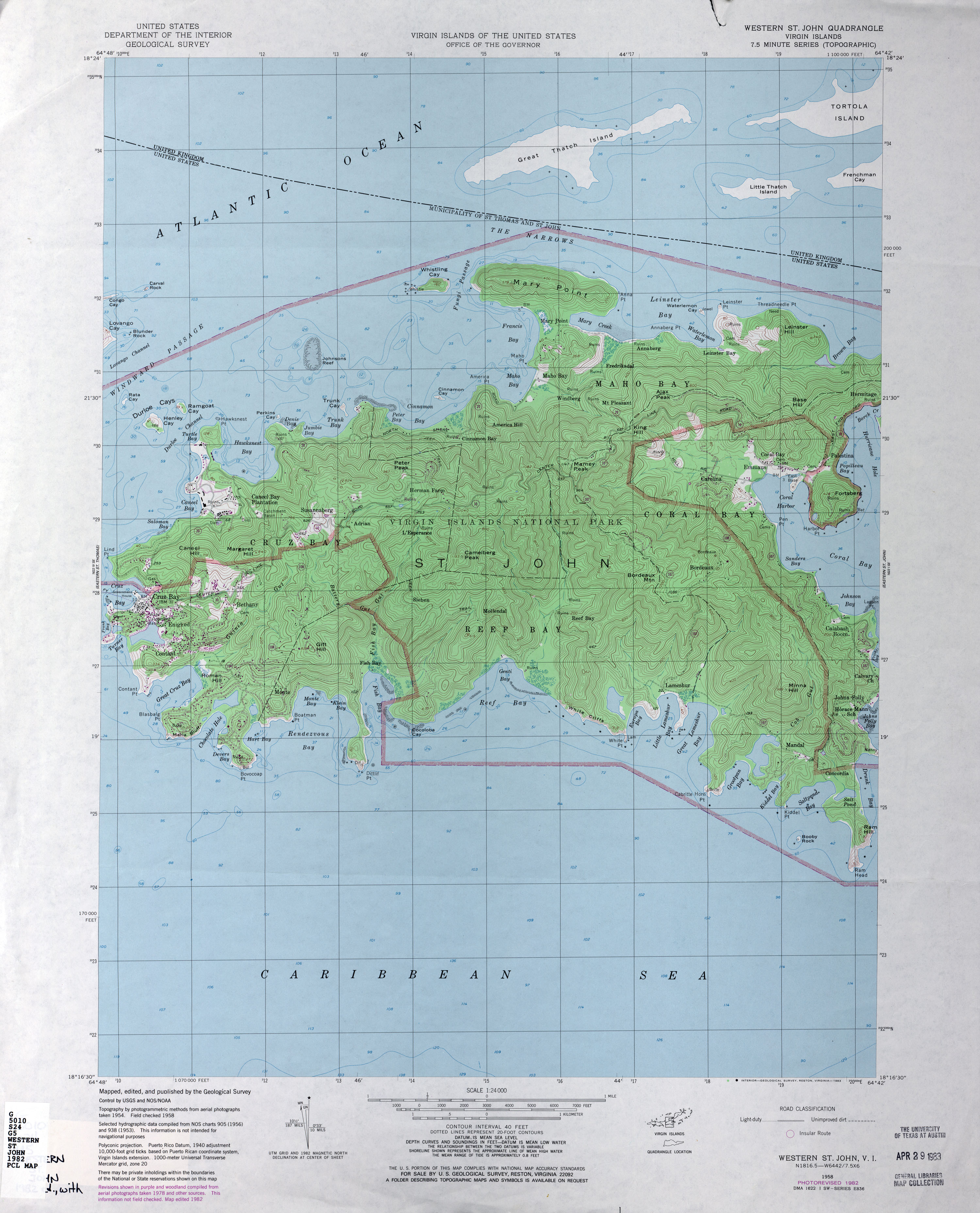 US Virgin Islands Topographic Maps PerryCastañeda Map - St john us virgin islands map