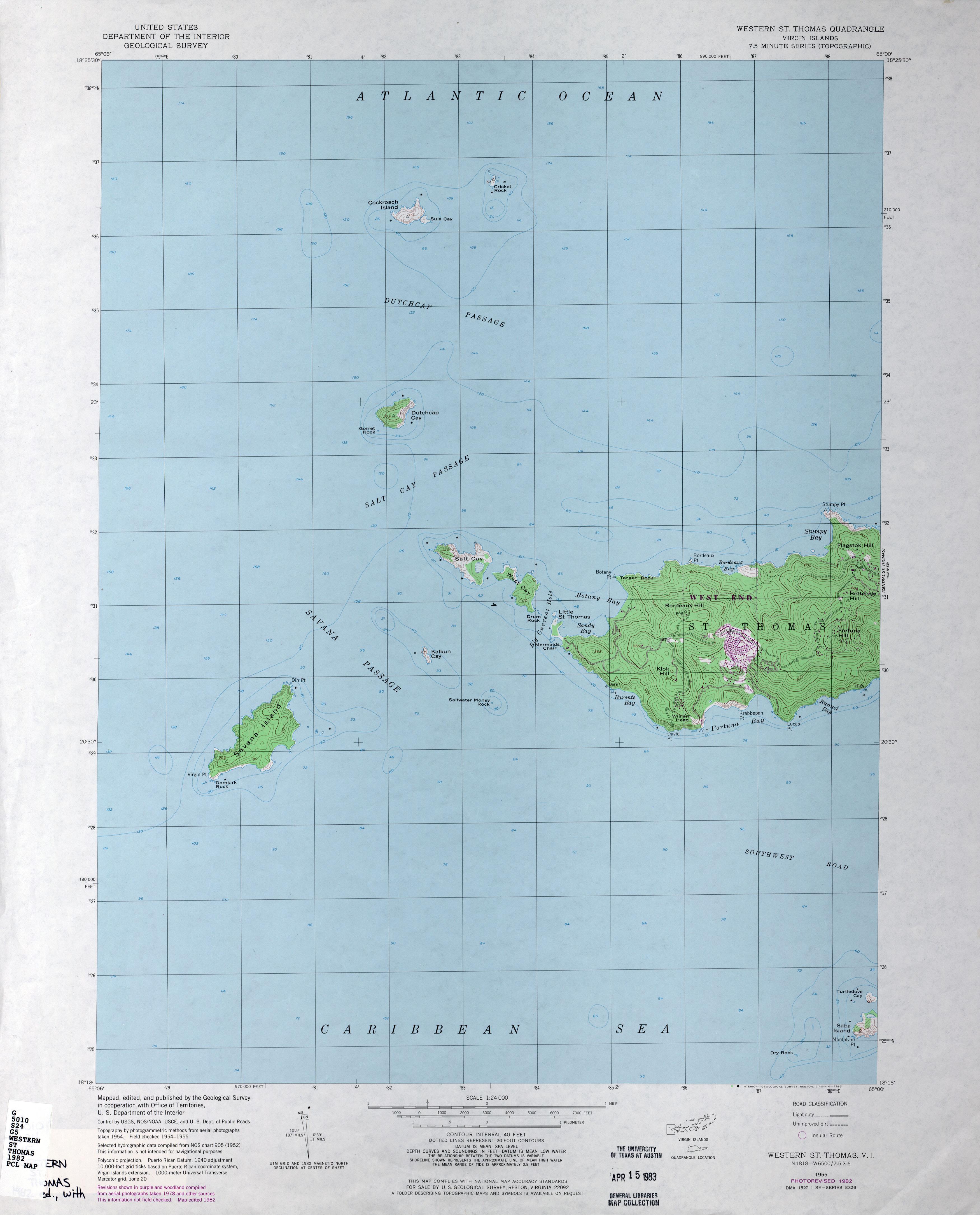 US Virgin Islands Topographic Maps PerryCastaeda Map