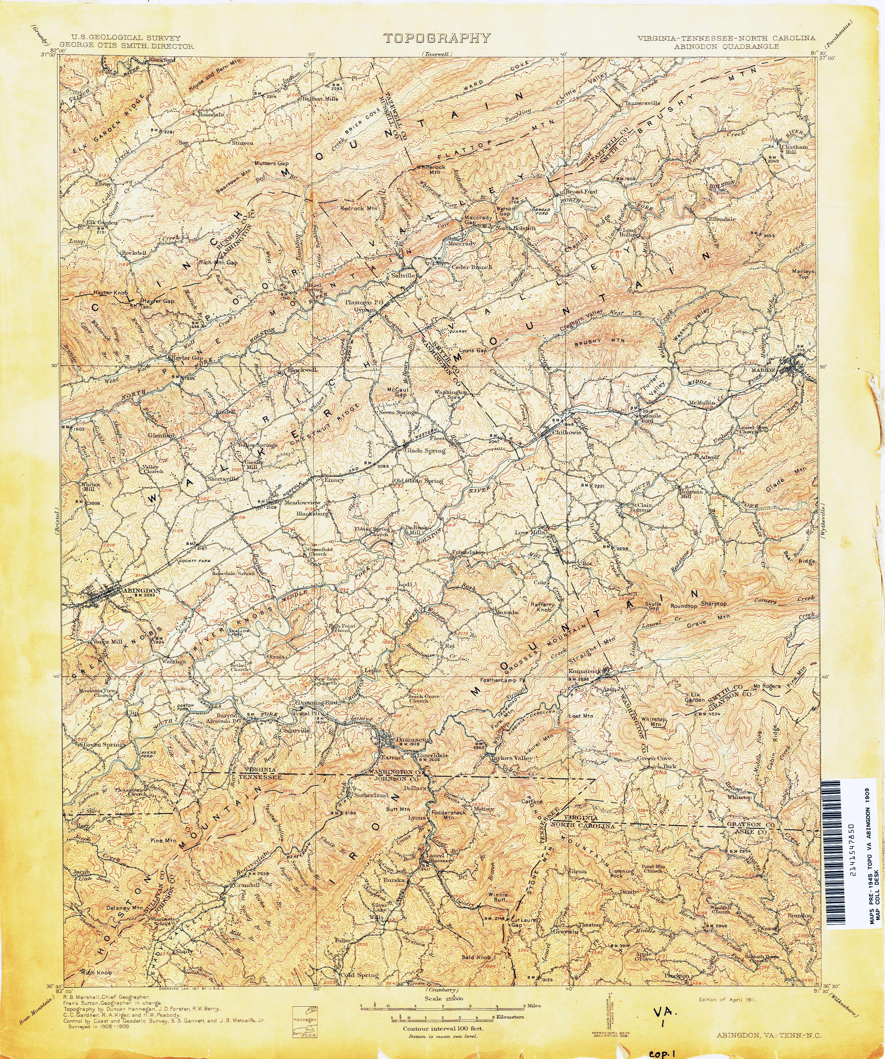 Abingdon Virginia Map.Virginia Historical Topographic Maps Perry Castaneda Map