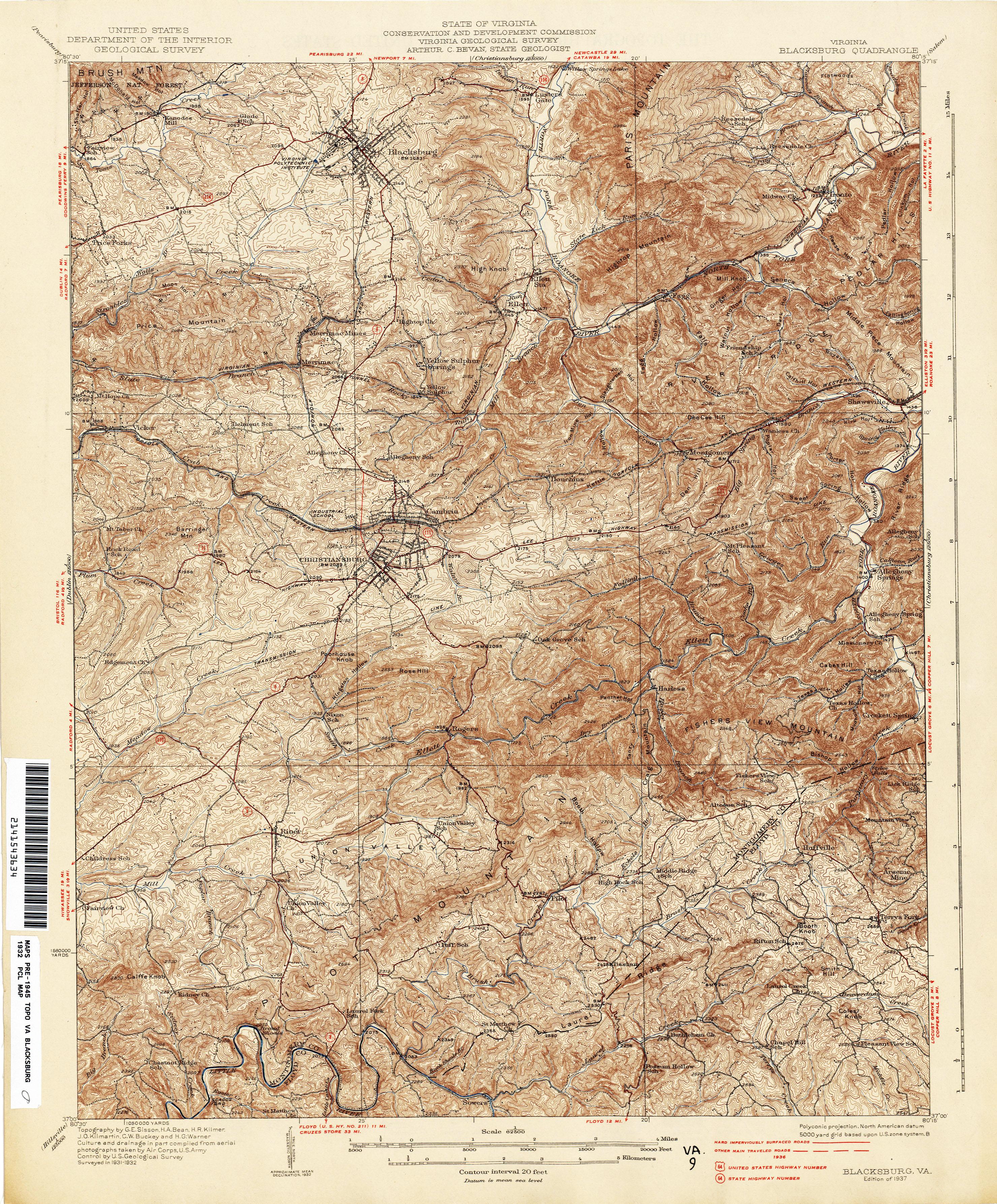 Virginia Historical Topographic Maps - Perry-Castañeda Map