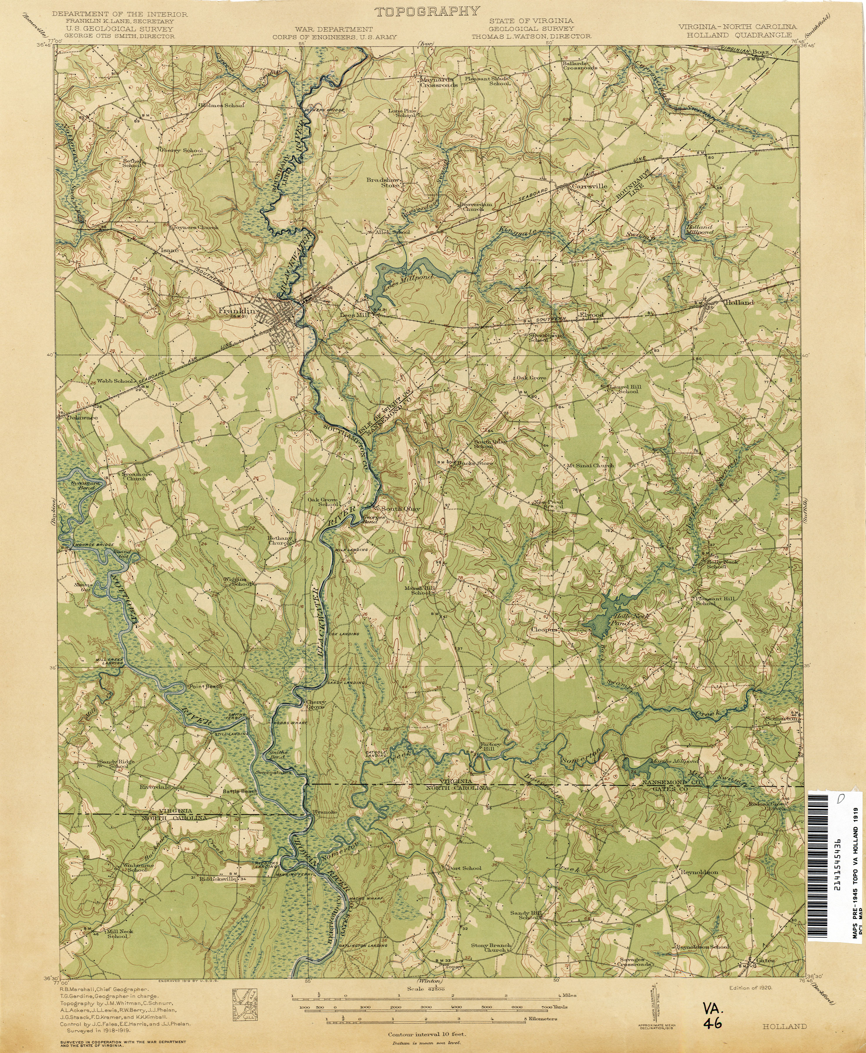 Virginia Historical Topographic Maps PerryCastañeda Map - Map of virginia and north carolina