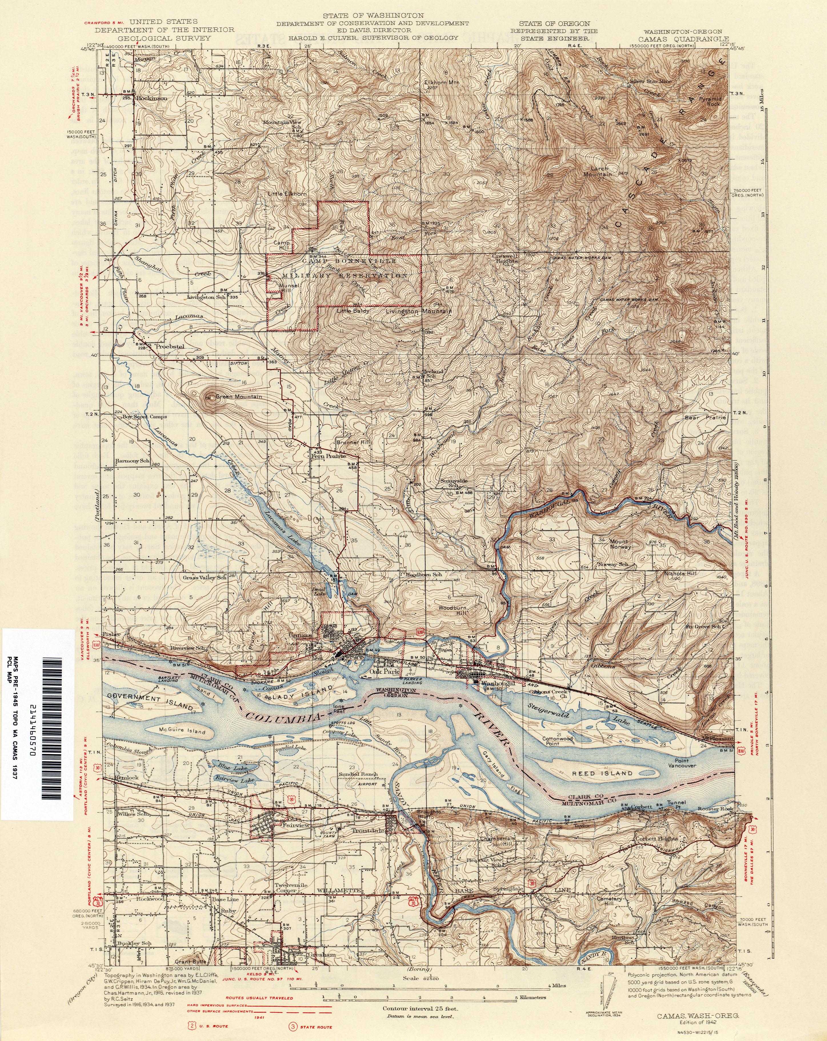 Washington Historical Topographic Maps PerryCastañeda Map - Wash map