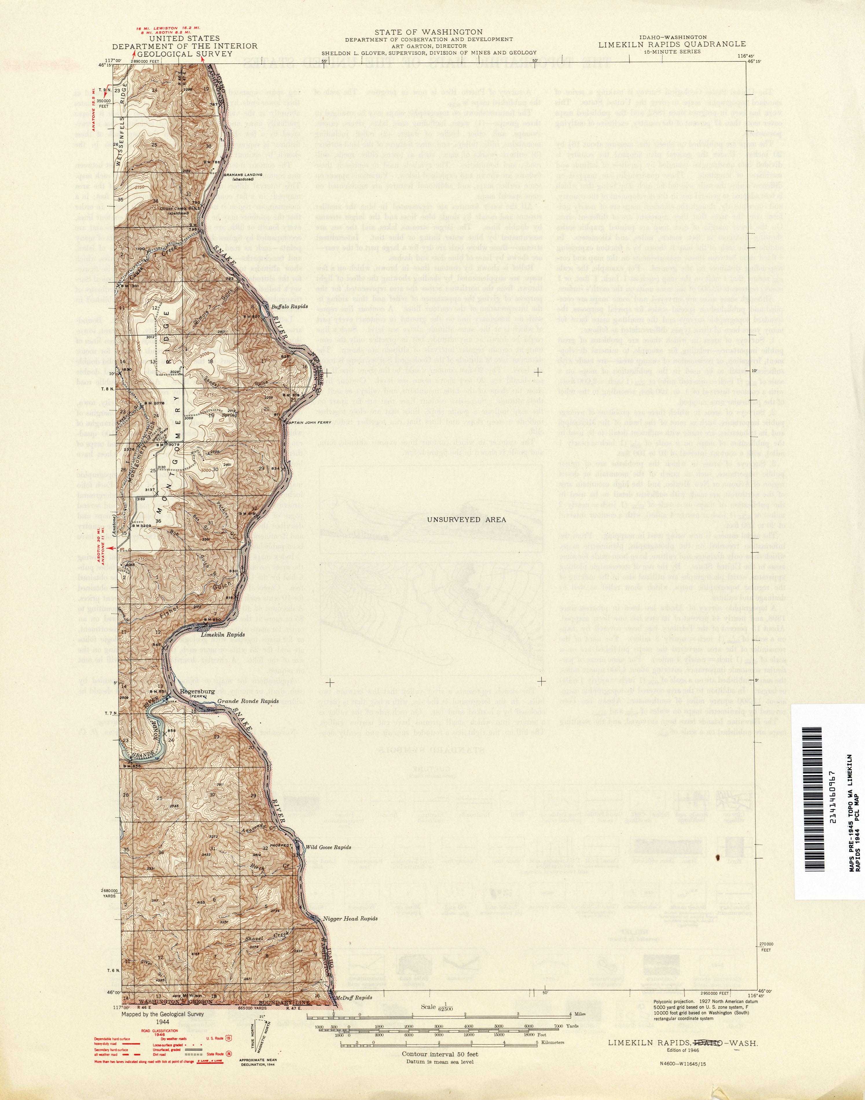 Washington Historical Topographic Maps PerryCastañeda Map - Idaho in us map