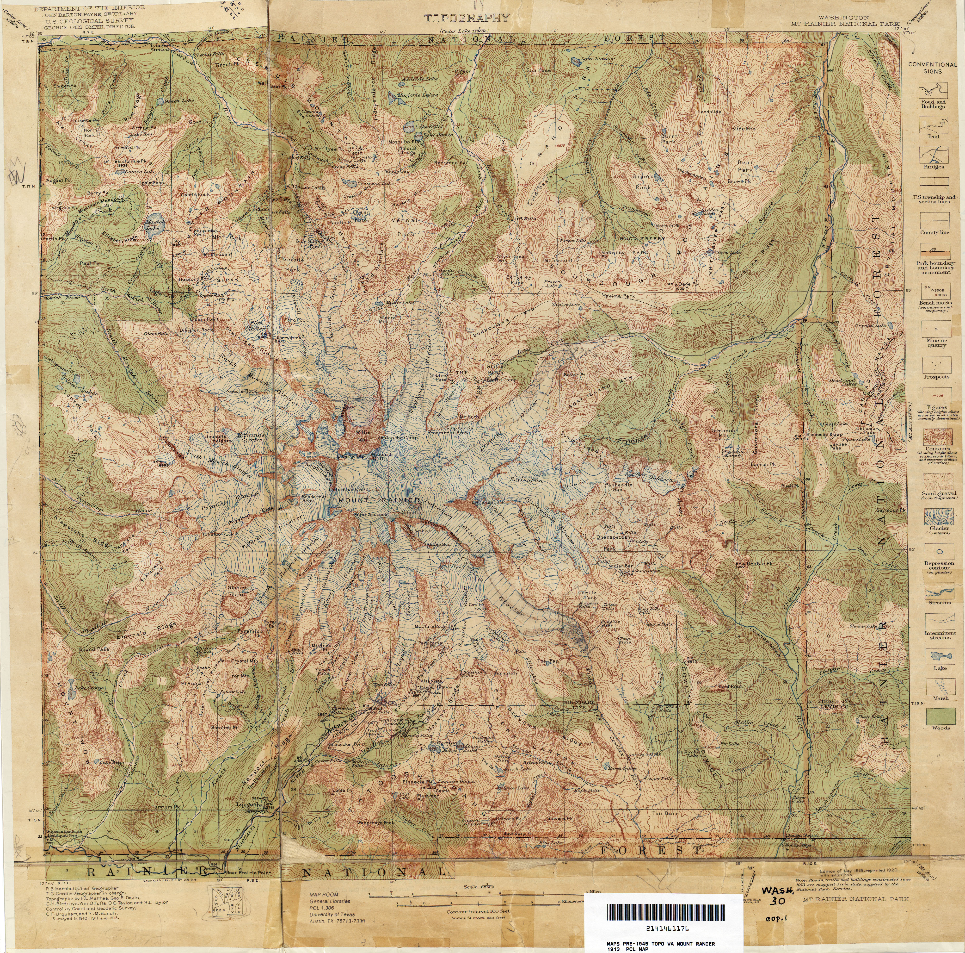 Mt Rainier Topographic Map.Washington Historical Topographic Maps Perry Castaneda Map