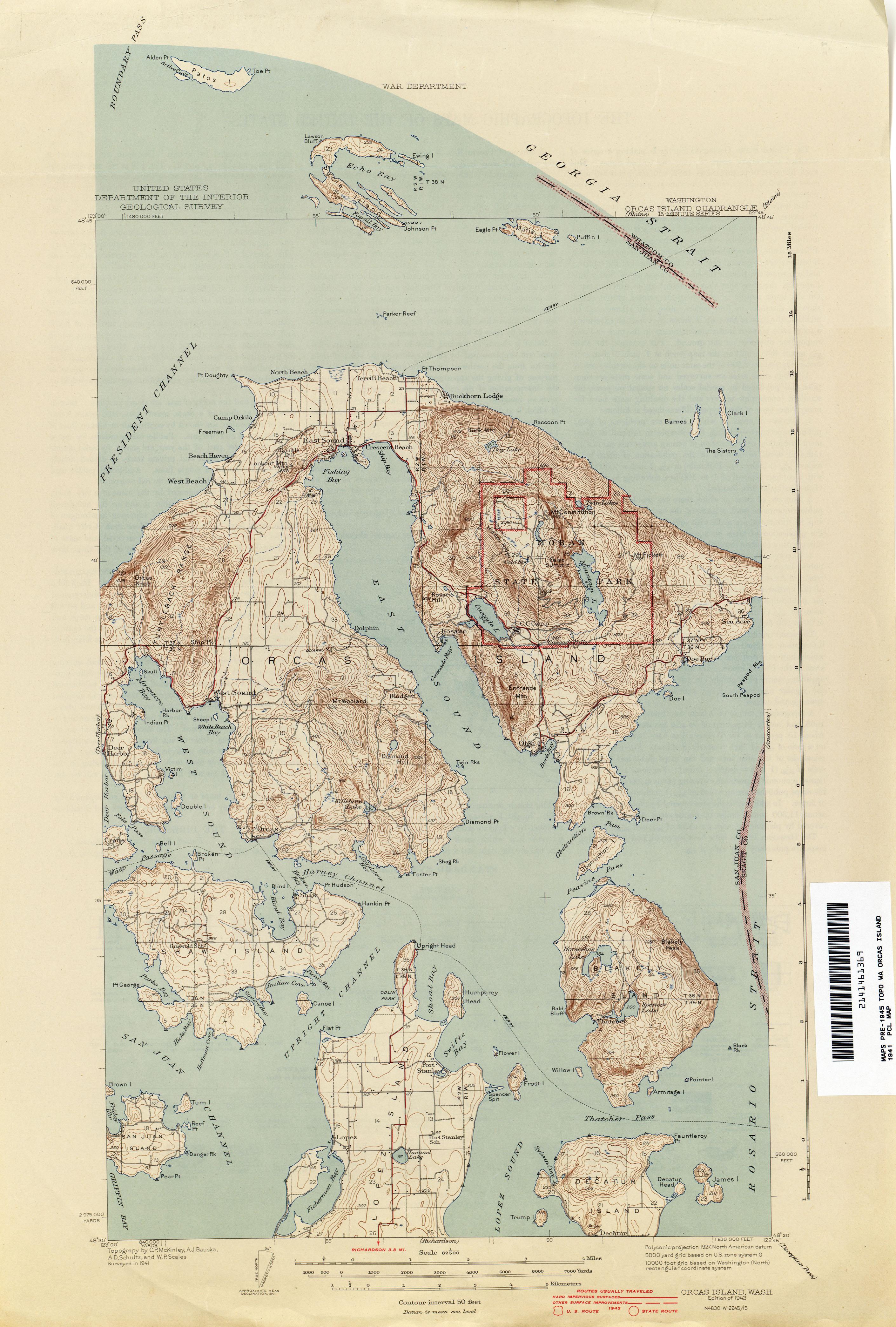 Orcas Island Map Topo