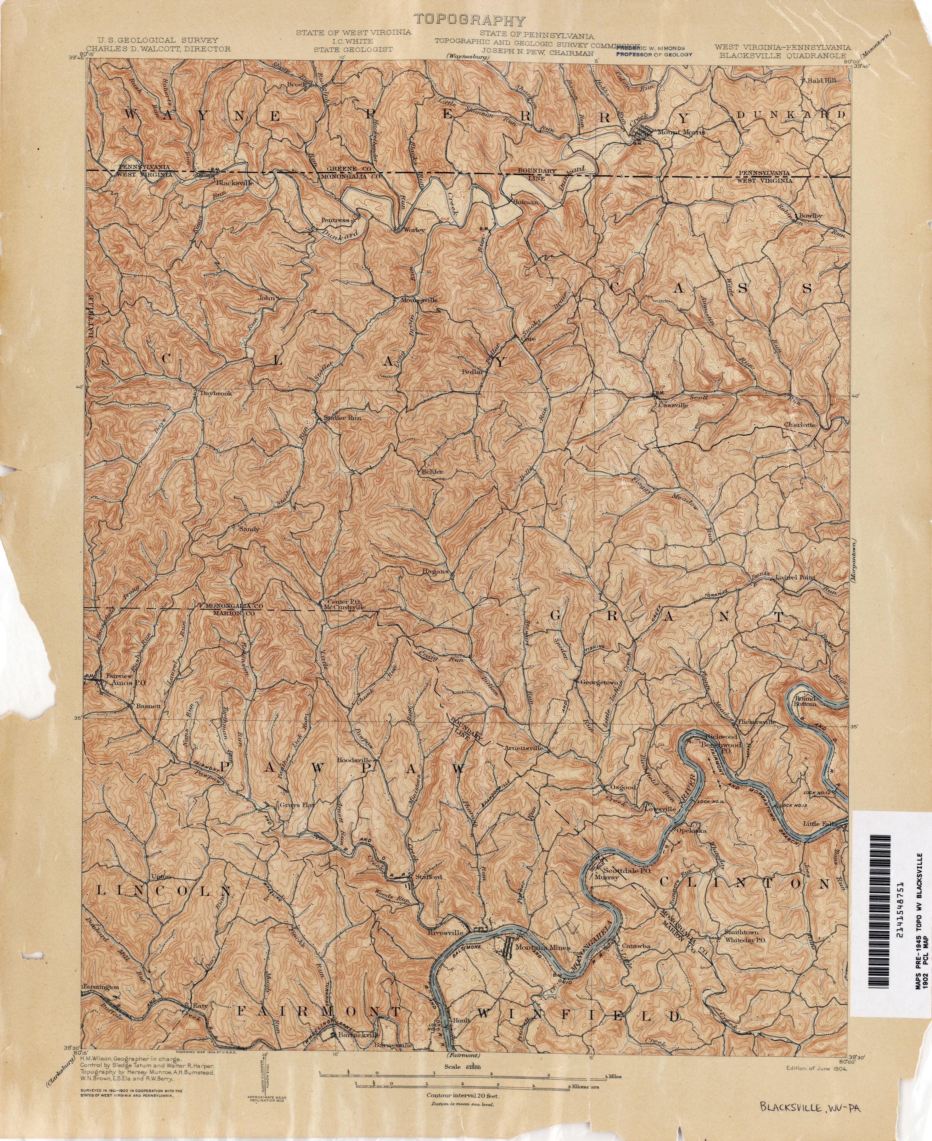 Meade Proctor Pinegrove Antique Littleton West Virginia 1905 US Geological Survey Topographic Map \u2013 Wetzel County Galmish Jacksonburg