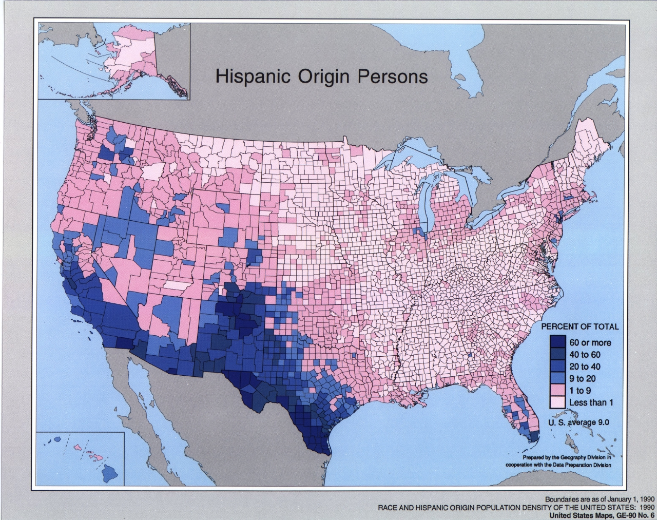 Maps of United States Of AmericaHispanic Origin Persons 1990 (1.24MB)