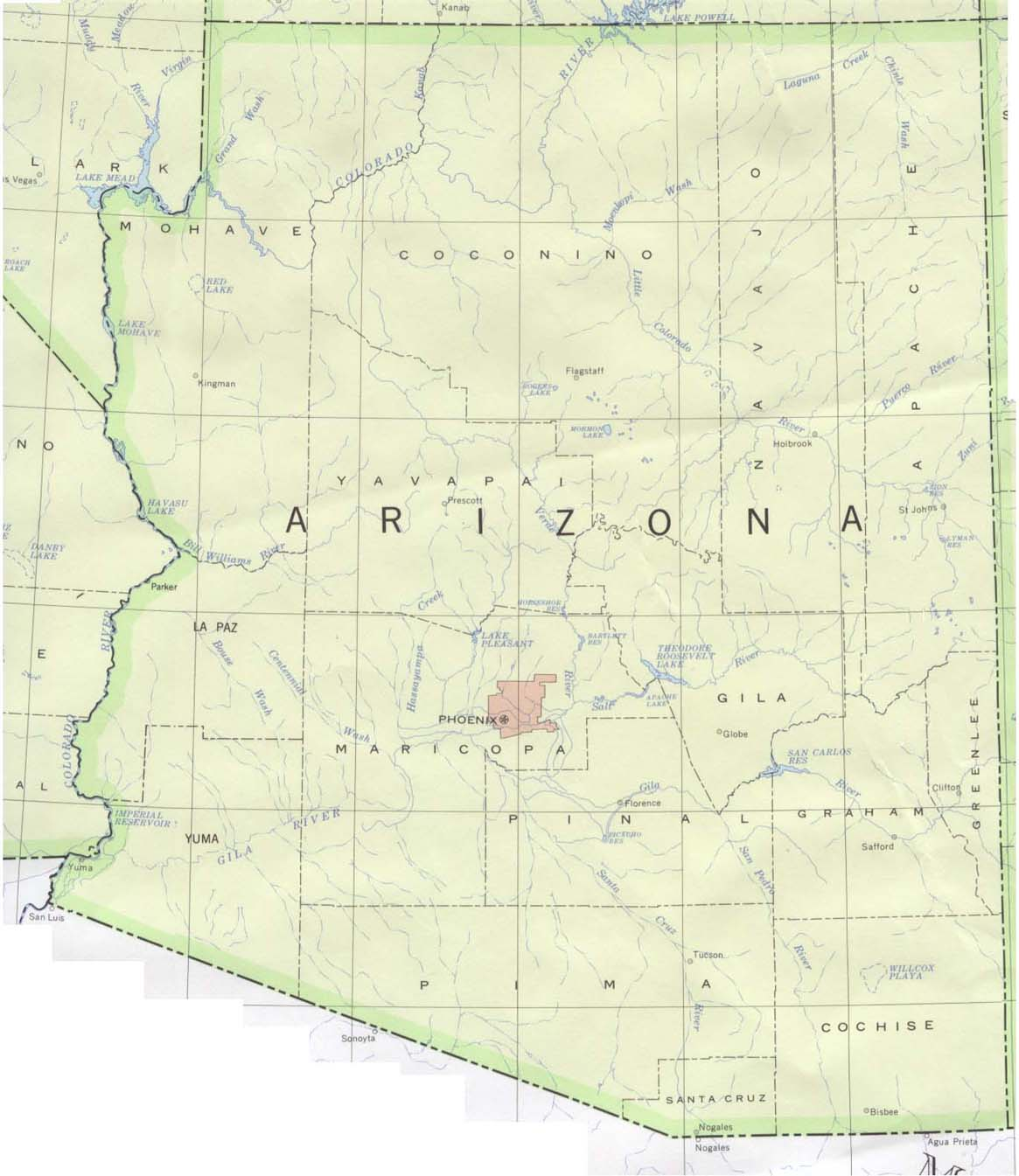 Arizona Outline Maps and Map Links