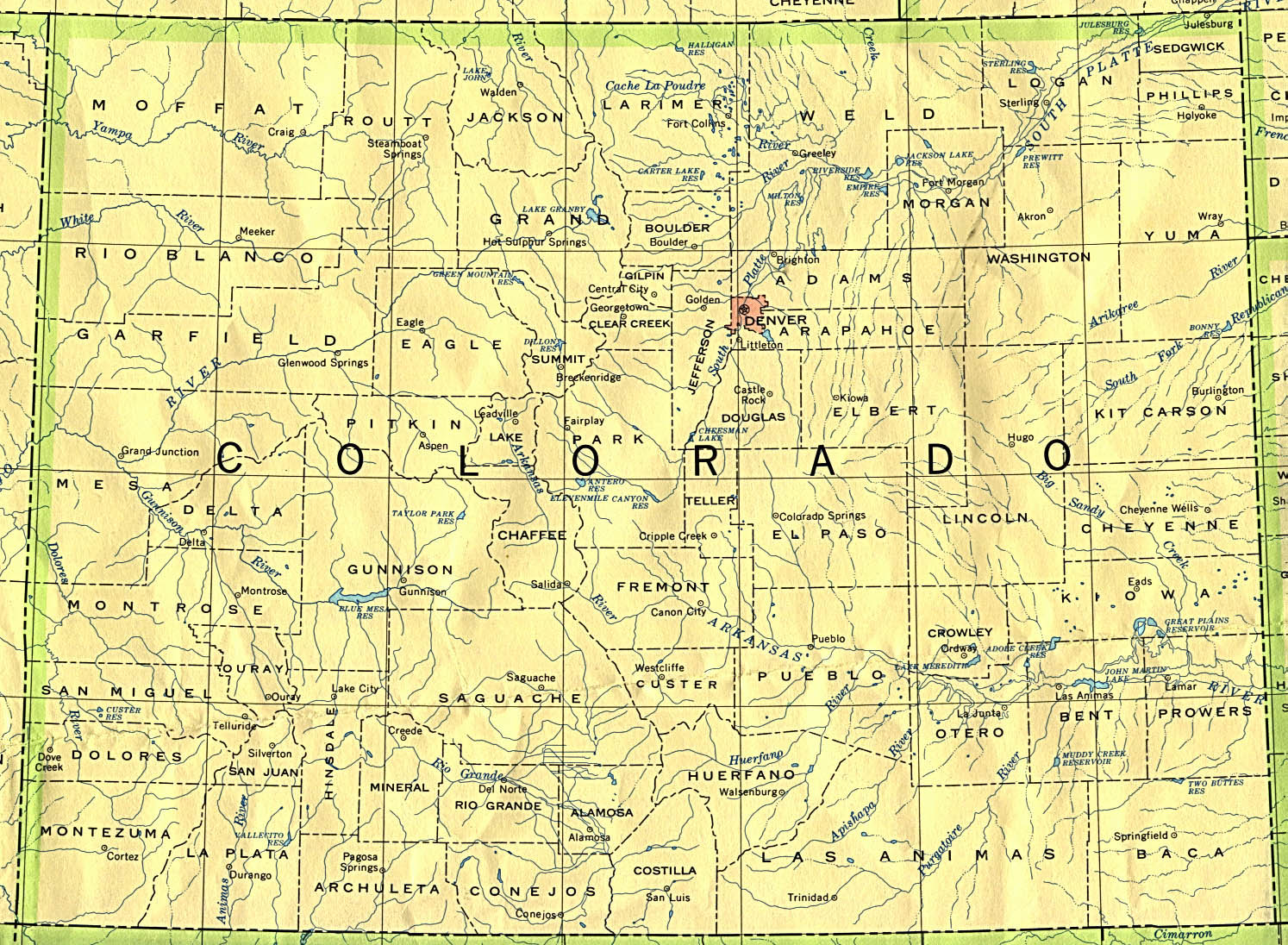 Colorado Maps PerryCastañeda Map Collection UT Library Online - Colorado county map