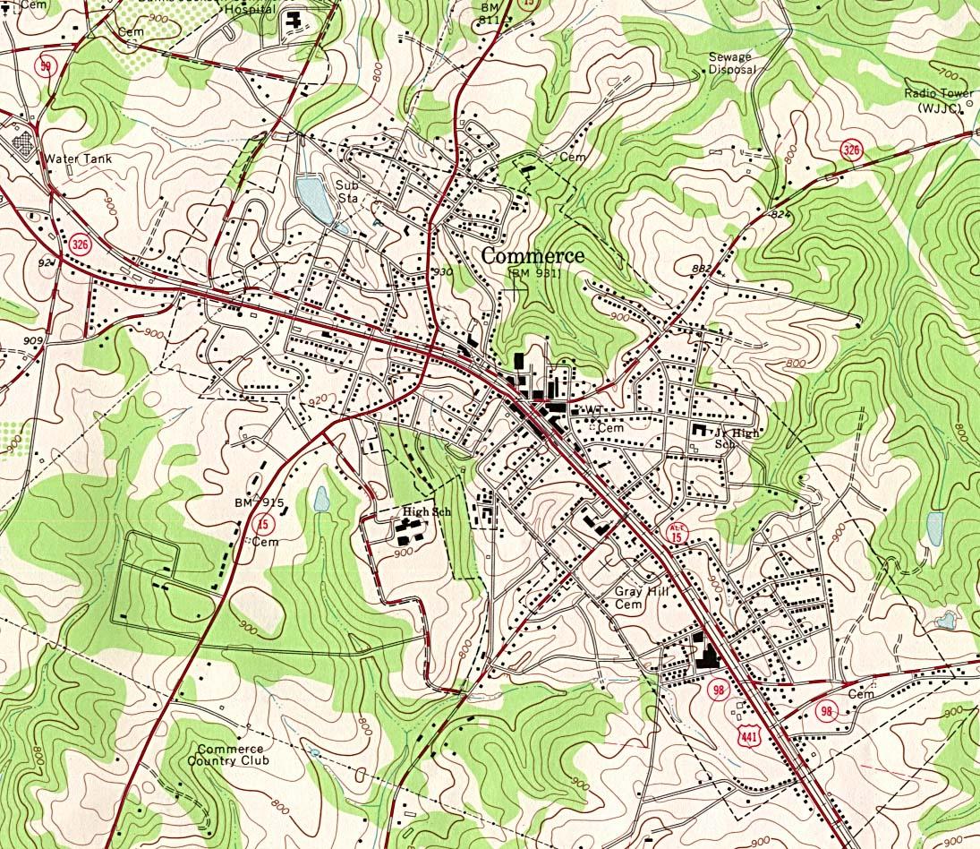 Maps of Georgia. Commerce original scale 1:24,000 U.S.G.S. 1964, photo inspected 1976 (397K)