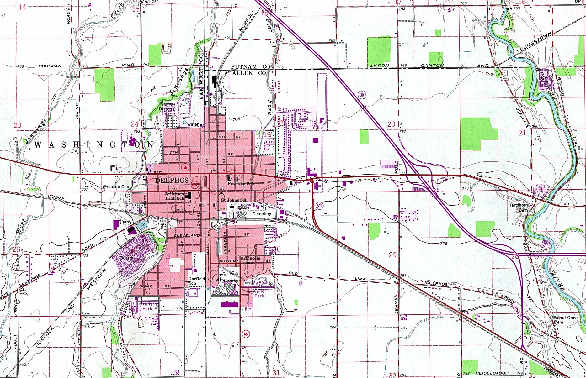 Up Travel Maps Of Ohio Delphos Topographic Map Original - Ohio maps with cities